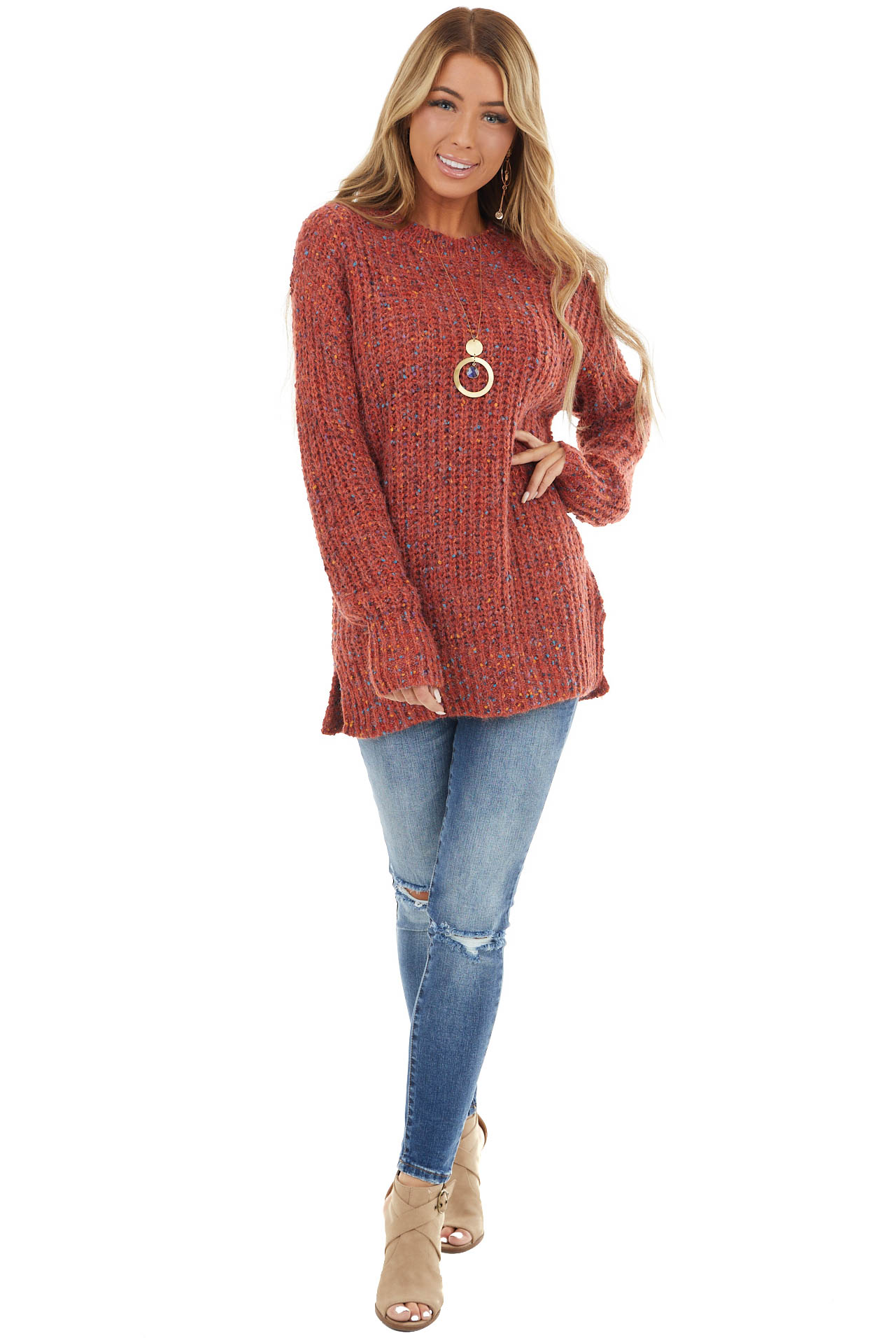 Dark Rust and Colorful Confetti Dot Long Sleeve Sweater