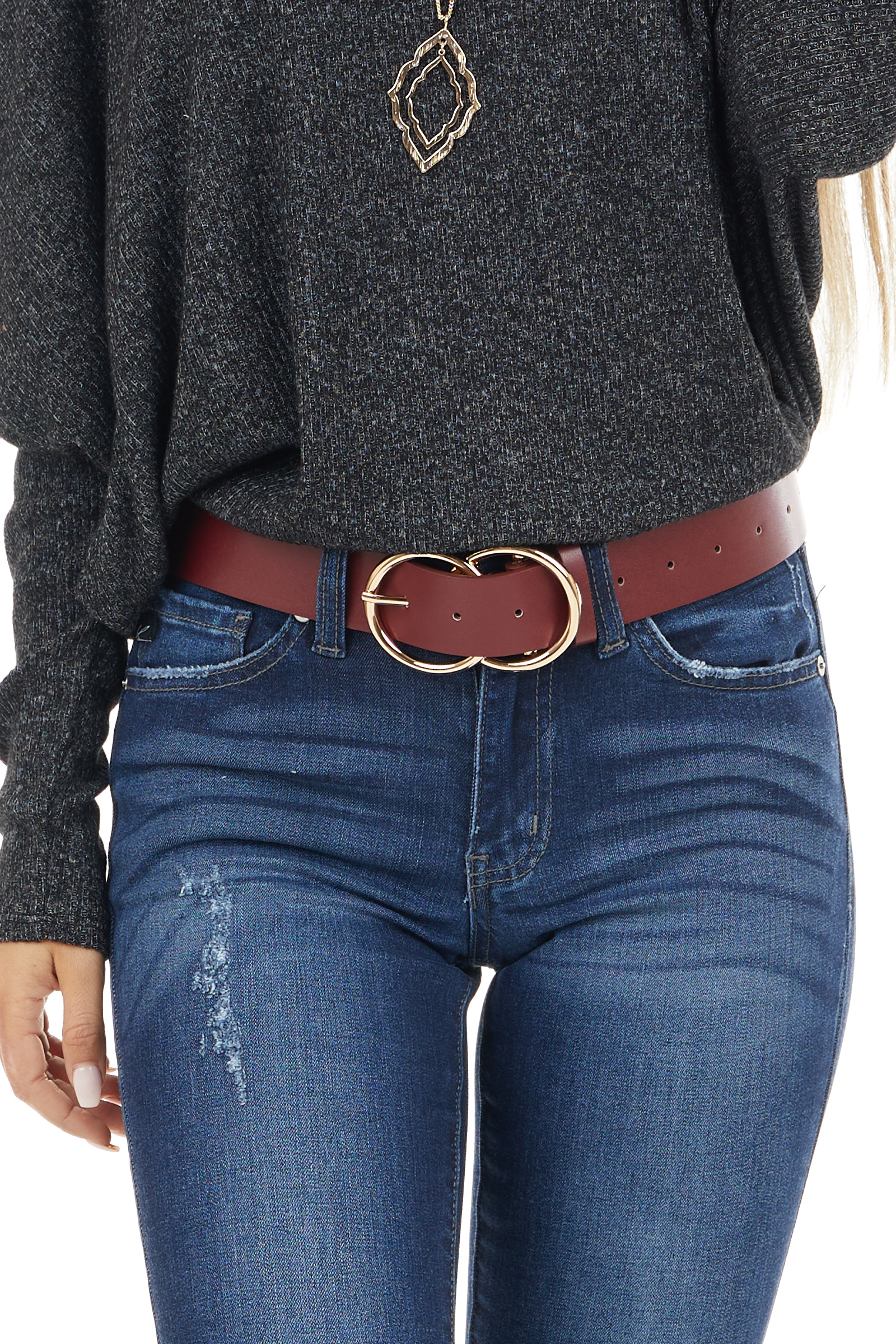Wine Faux Leather Belt with Gold Double Ring Buckle