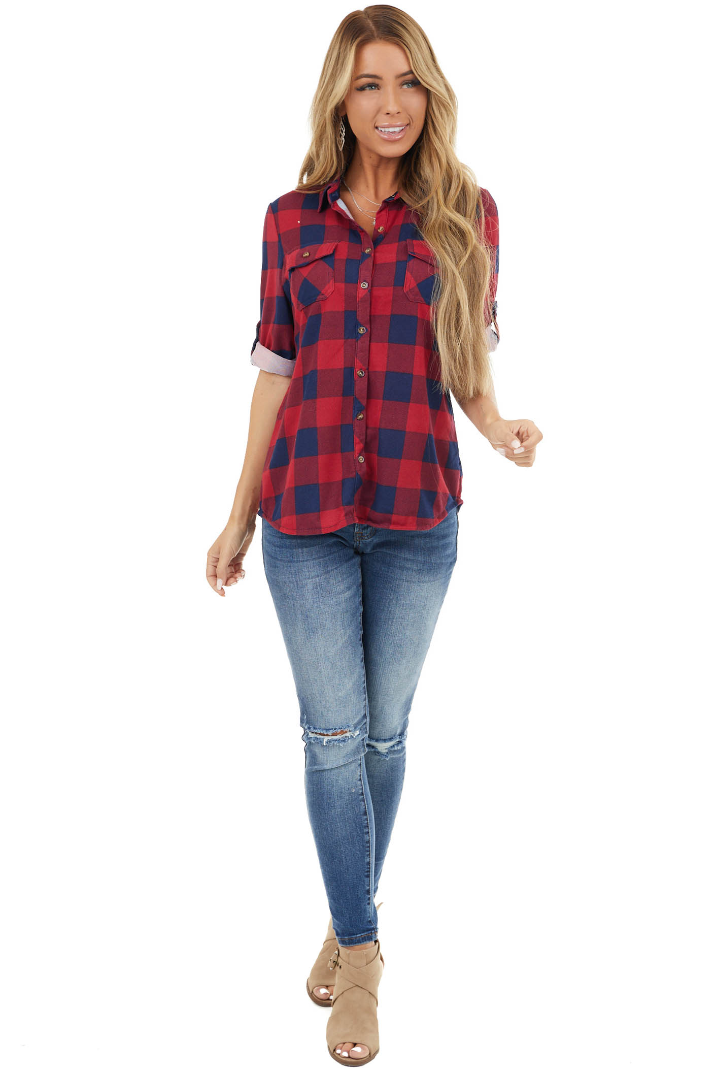 Cranberry and Navy Buffalo Plaid Top with Chest Pockets