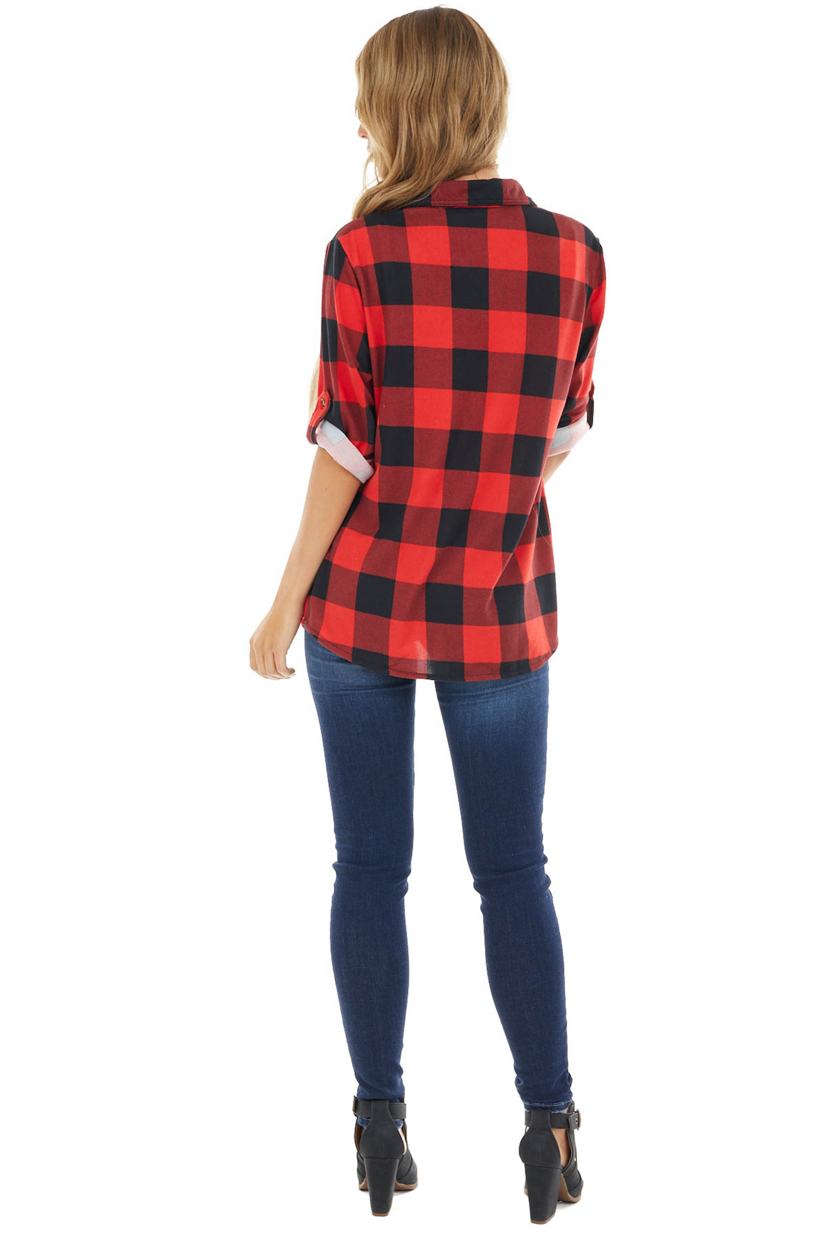 Lipstick Red and Black Buffalo Plaid Top with Chest Pocket