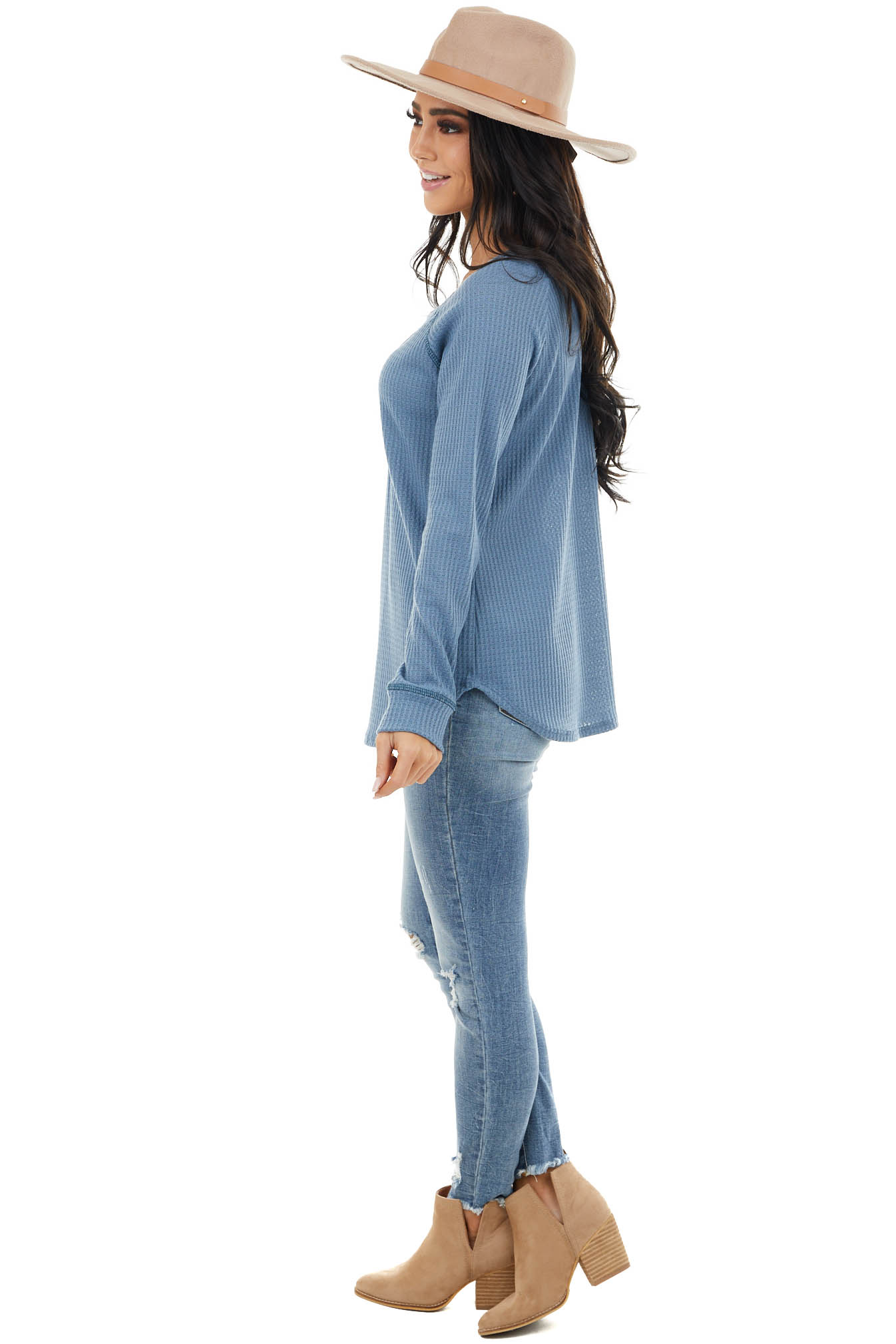 Dusty Blue Waffle Knit Long Sleeve Top with V Stitch