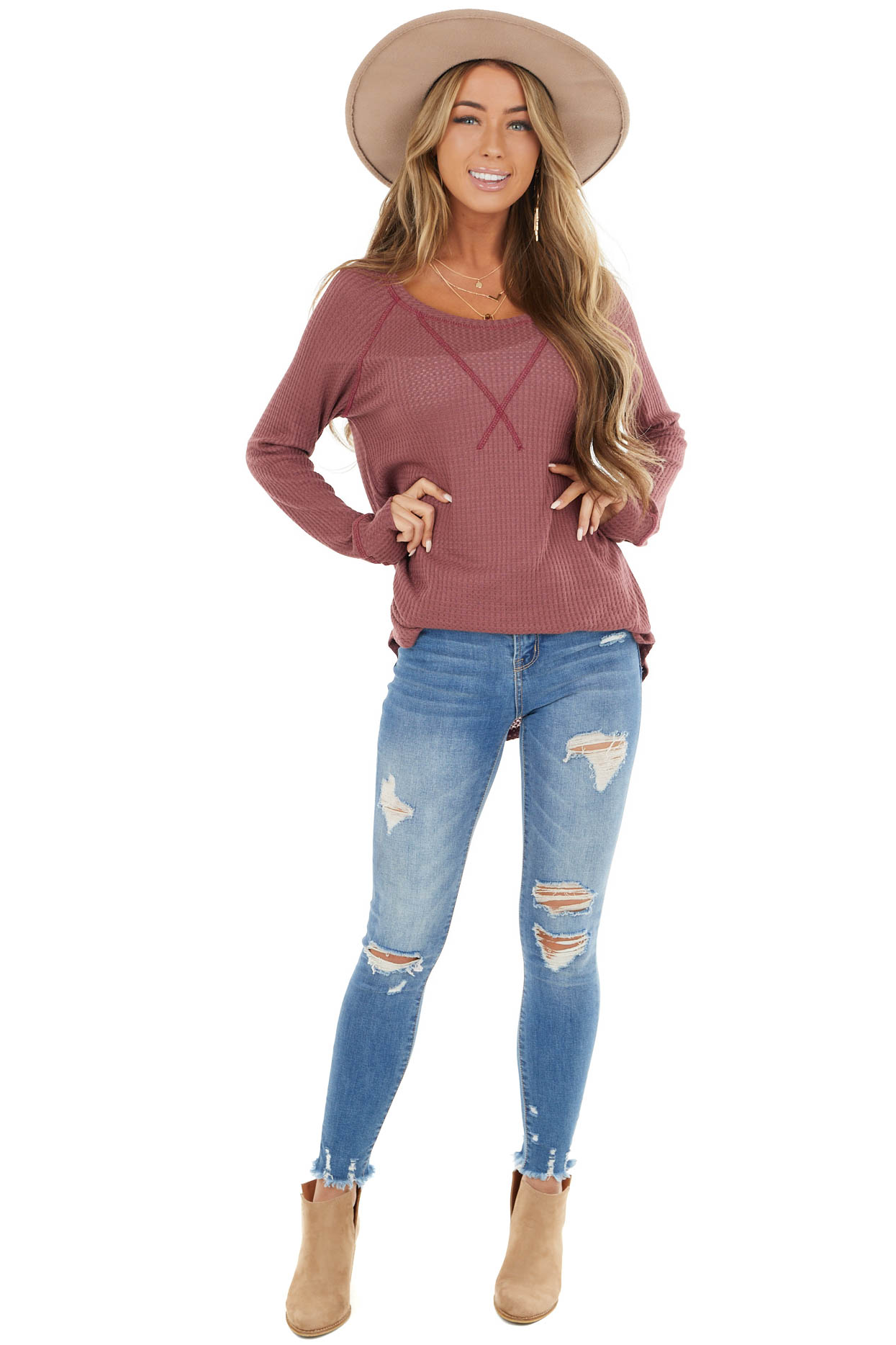 Dark Mauve Waffle Knit Long Sleeve Top with V Stitch