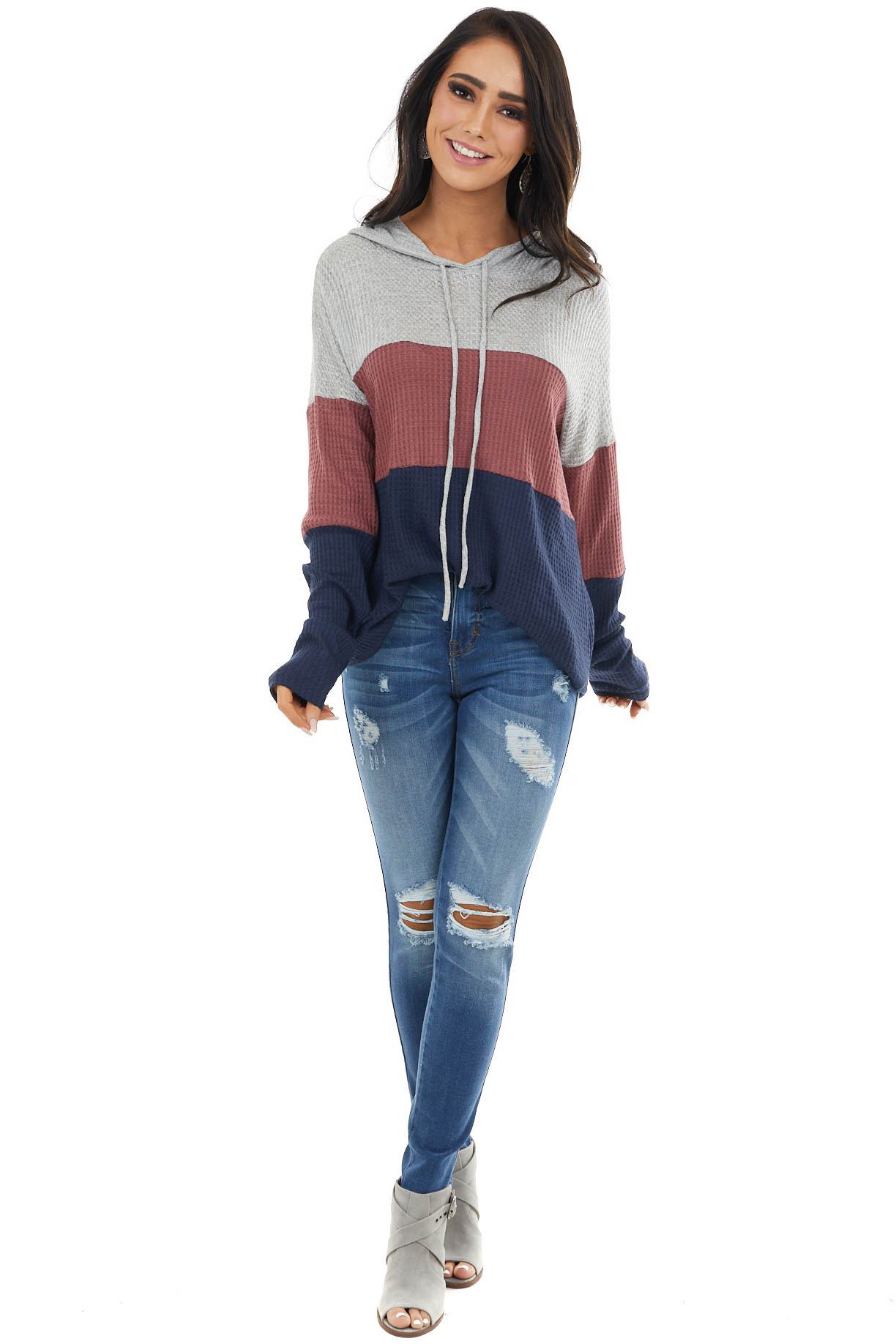 Mauve and Navy Colorblock Waffle Knit Lightweight Hoodie