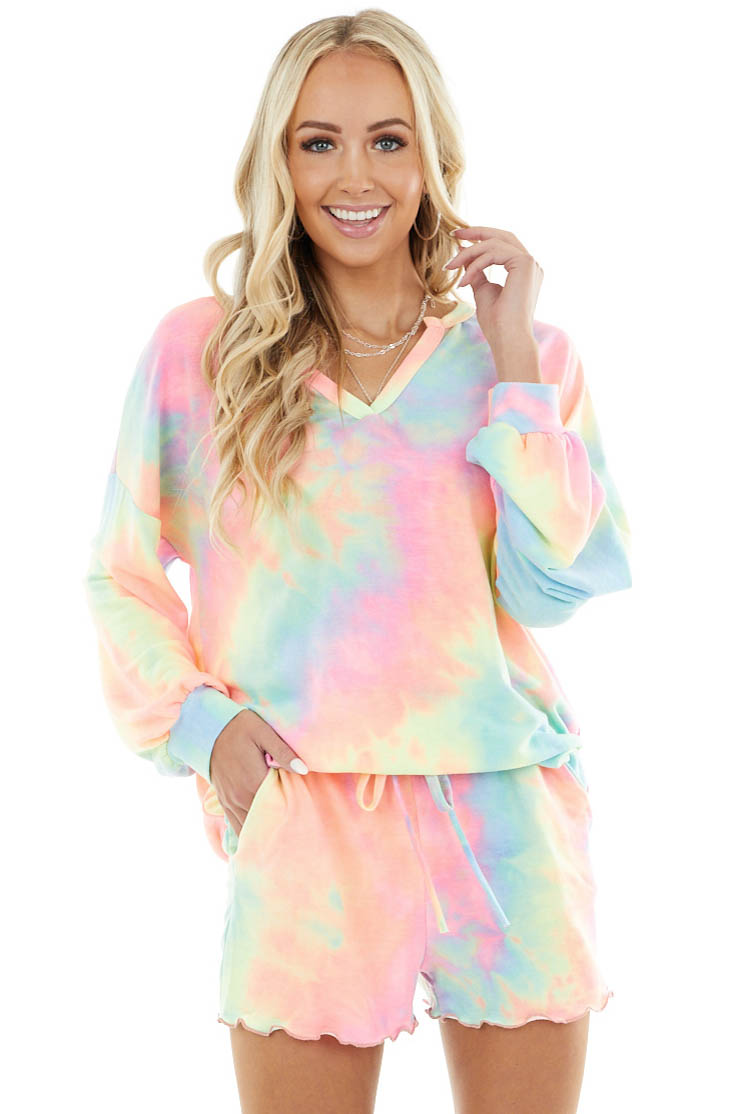 Bright Multi Color Tie Dye Long Sleeve Top and Shorts Set