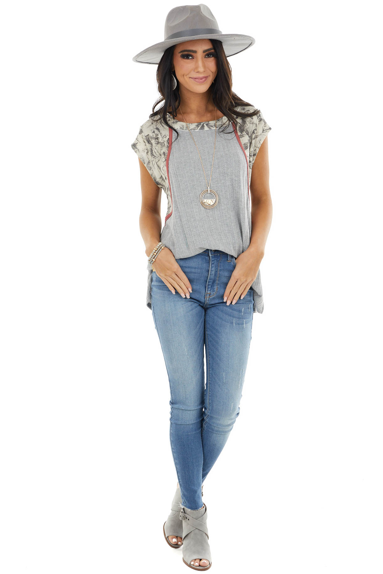 Dove Grey Textured Top with Printed Short Sleeve Contrast