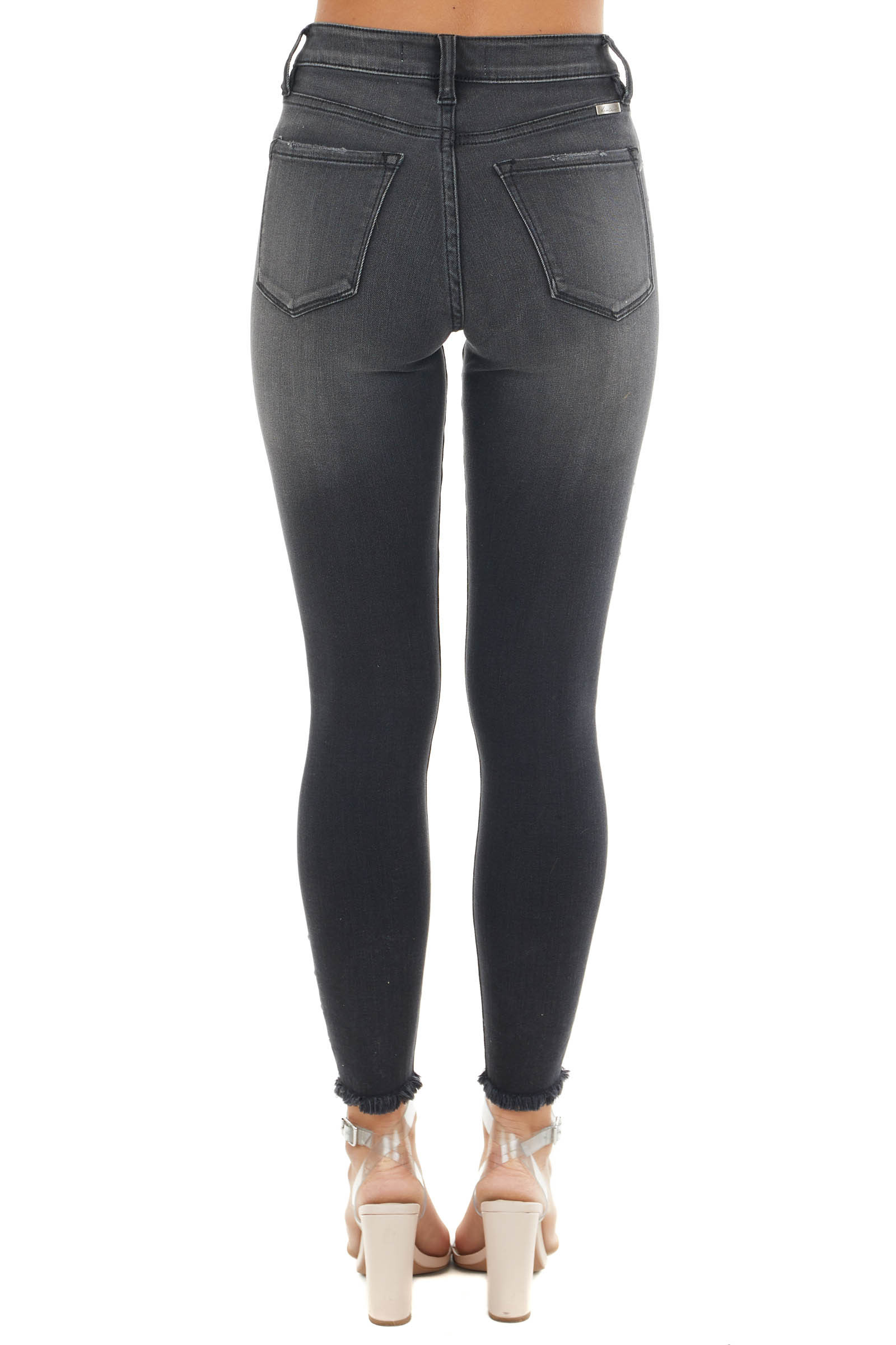 Faded Black High Rise Skinny Jeans with Side Stud Details