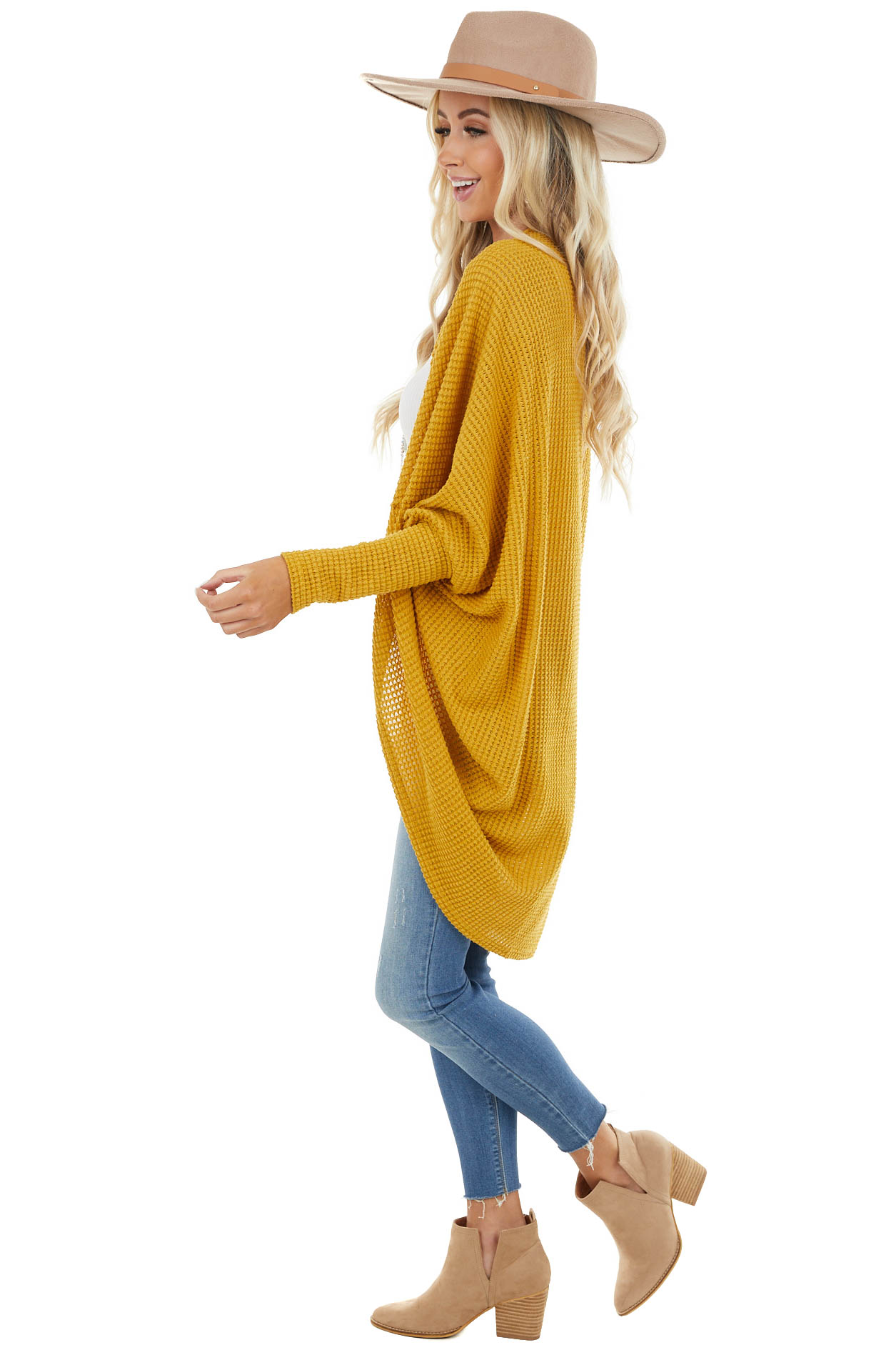 Mustard Waffle Knit 3/4 Sleeve Cardigan with Cocoon Hem