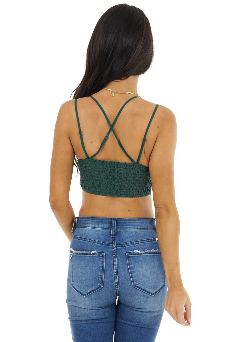 Forest Green Lace Bralette with Dual Criss Cross Straps