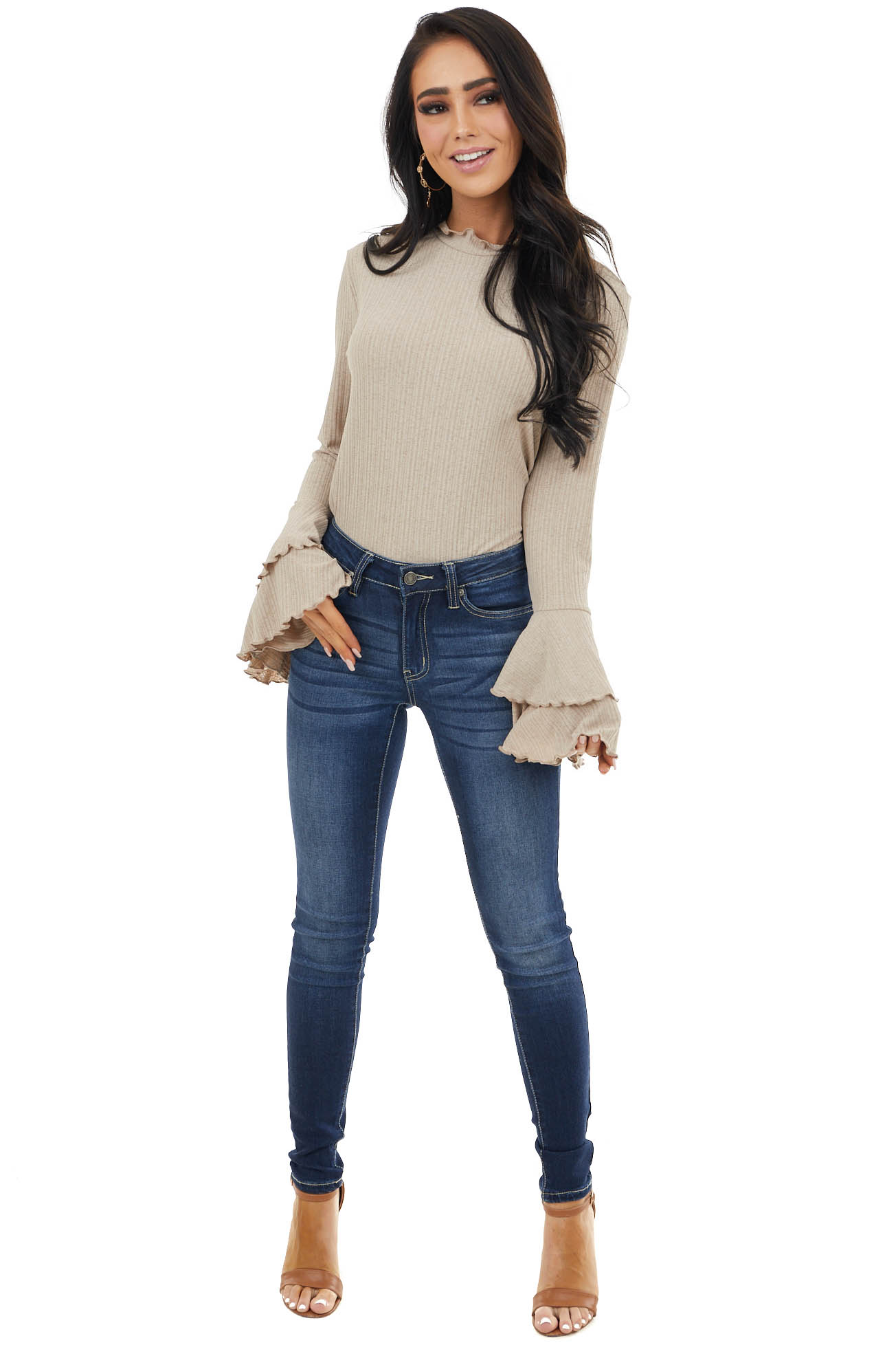 Light Latte Ribbed High Neck Top with Ruffle Bell Sleeves
