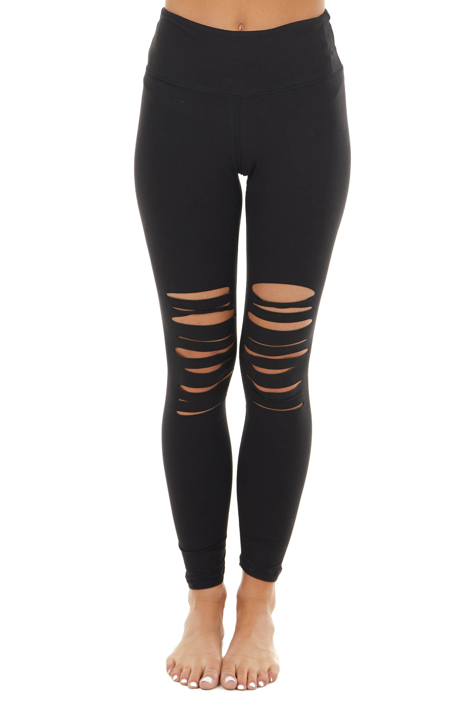 Black Solid Leggings with Front Laser Cut Outs