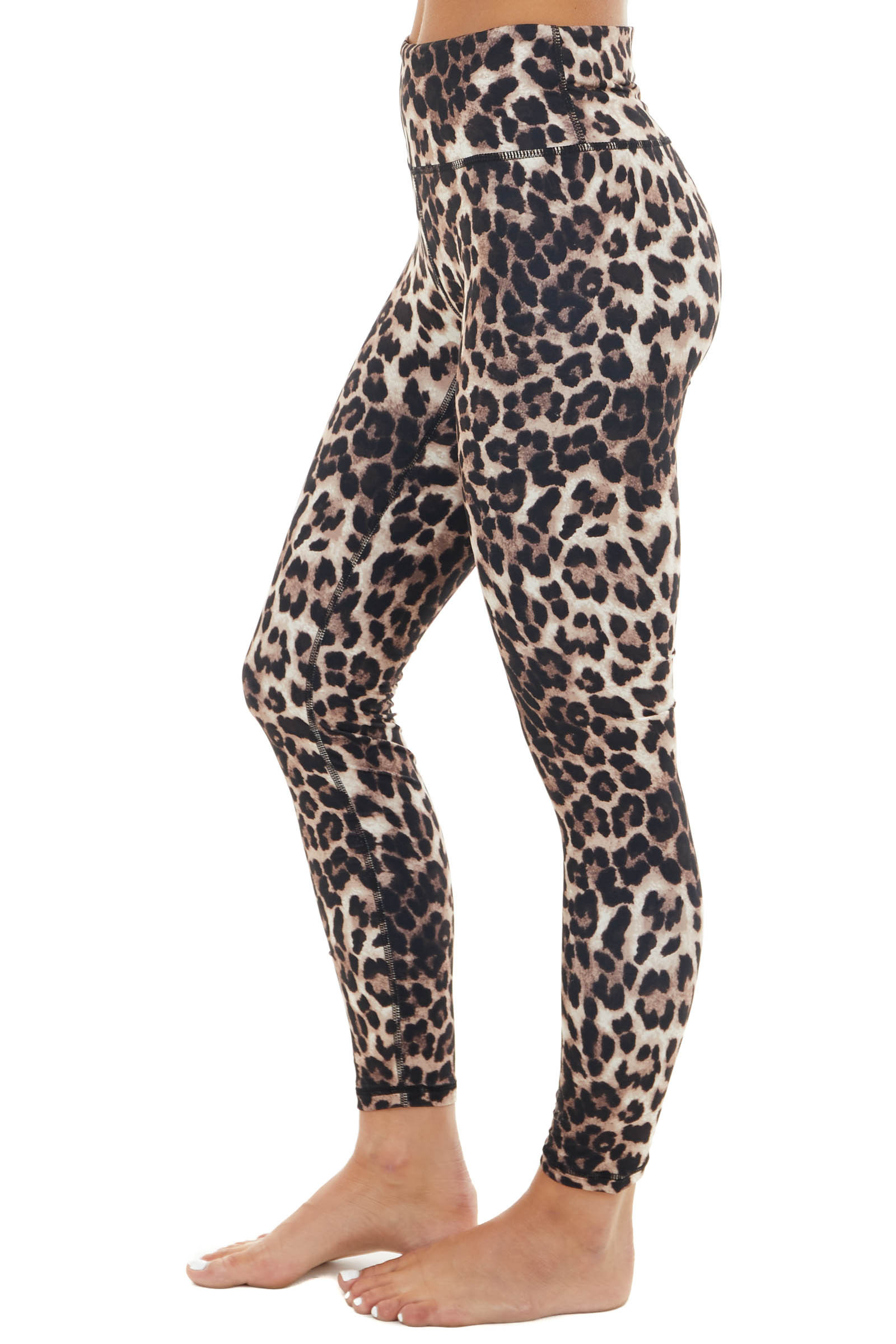 Taupe and Latte Leopard Print Stretchy Knit Leggings