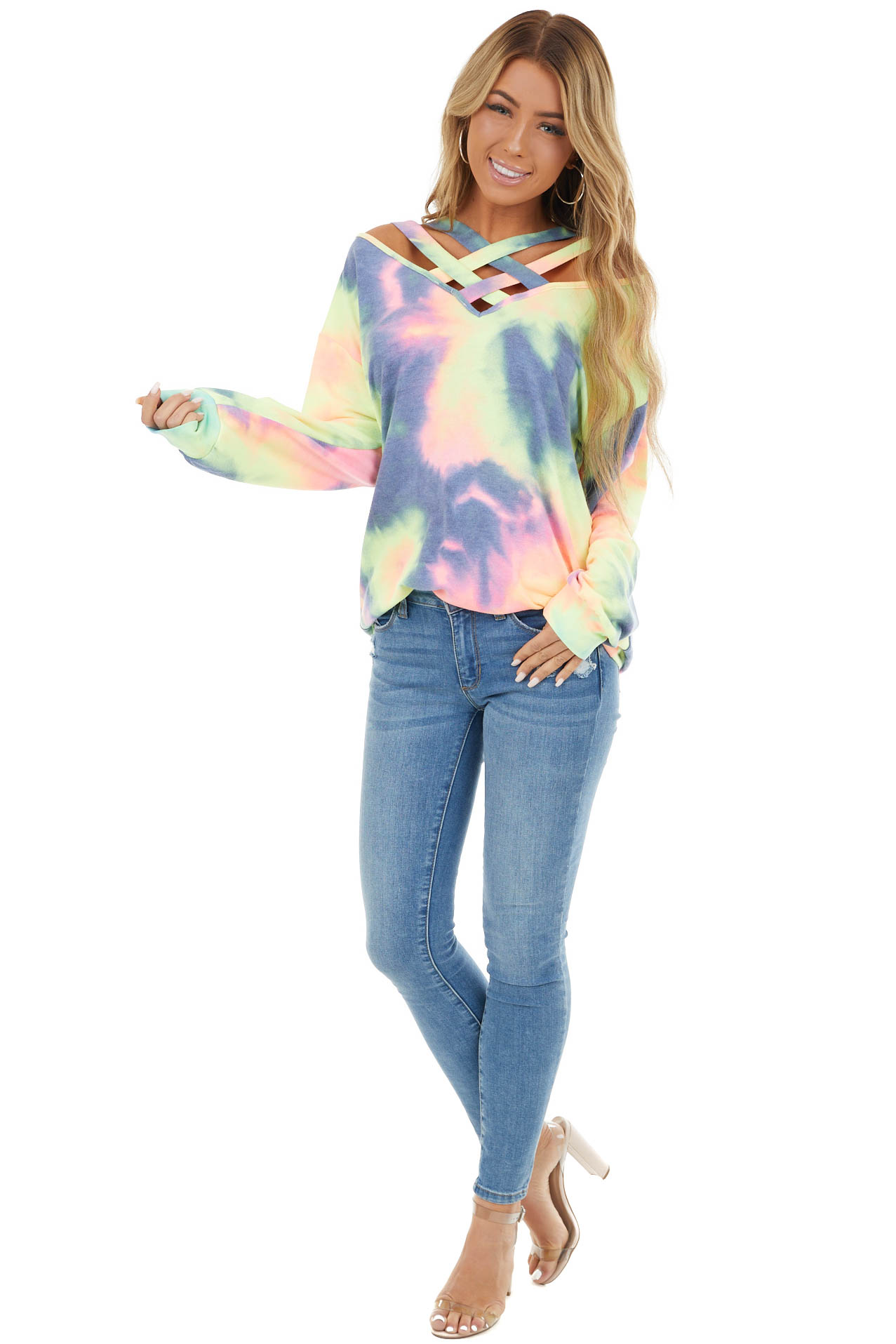 Multi Color Tie Dye Long Sleeve with Criss Cross Neck Detail