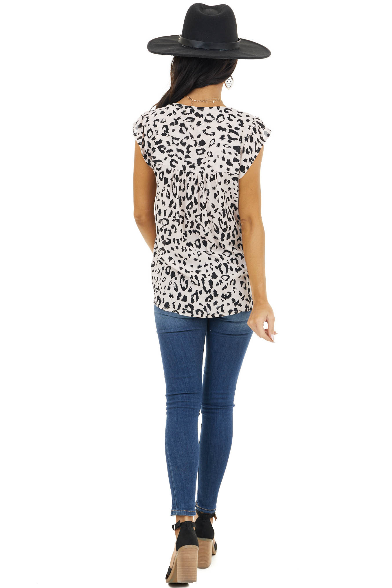 Desert Sand Leopard Print Woven Top with Embroidered Details