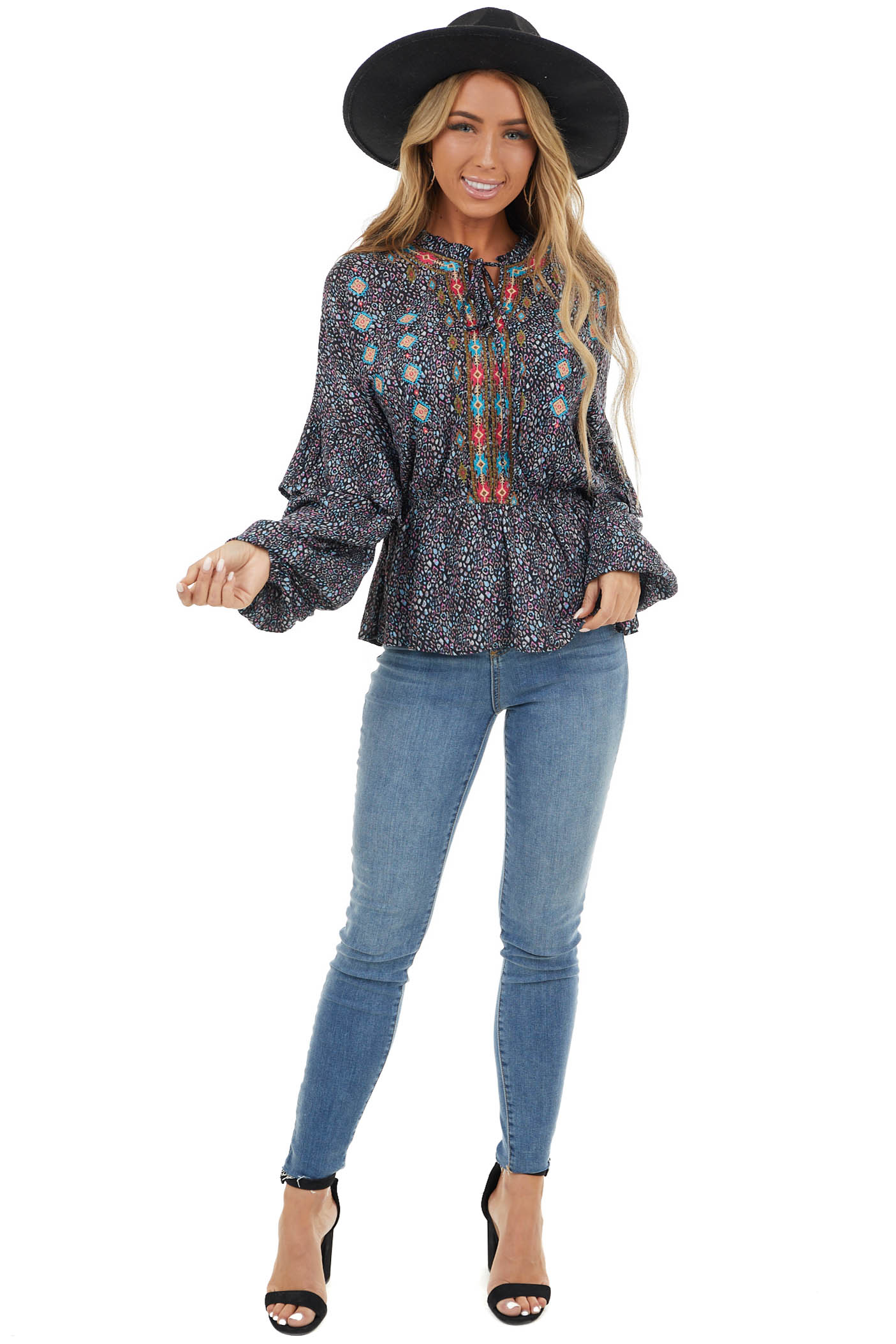 Black Leopard Long Puff Sleeve Top with Embroidered Details