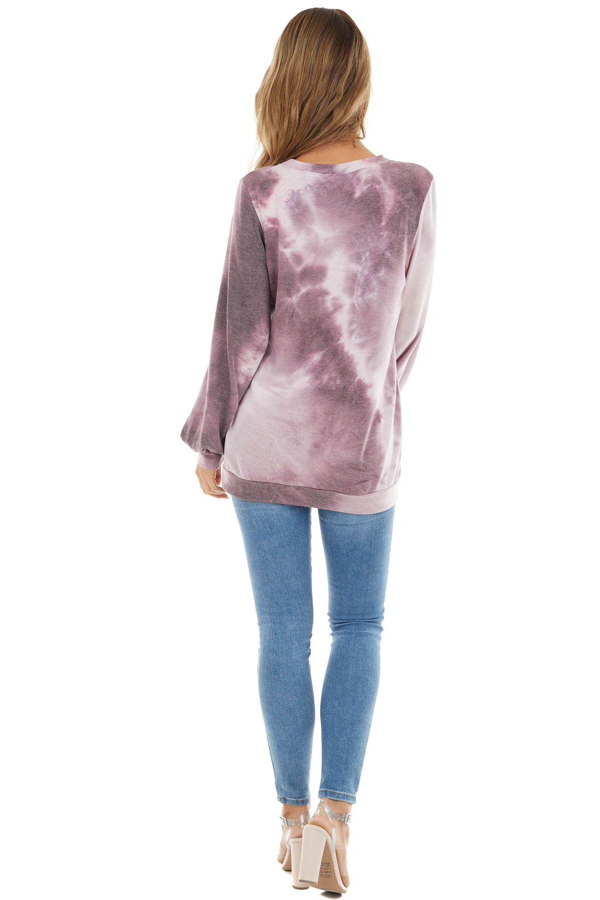 Lavender Tie Dye Long Sleeve Knit Top with Front Cutout