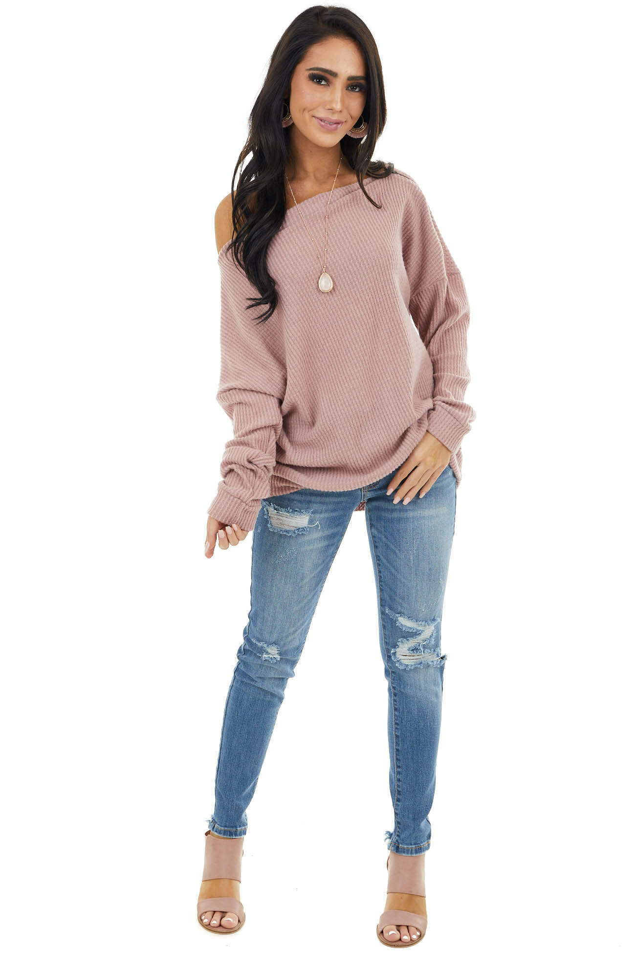 Dusty Blush Off Shoulder Waffle Knit Top with Zipper Detail