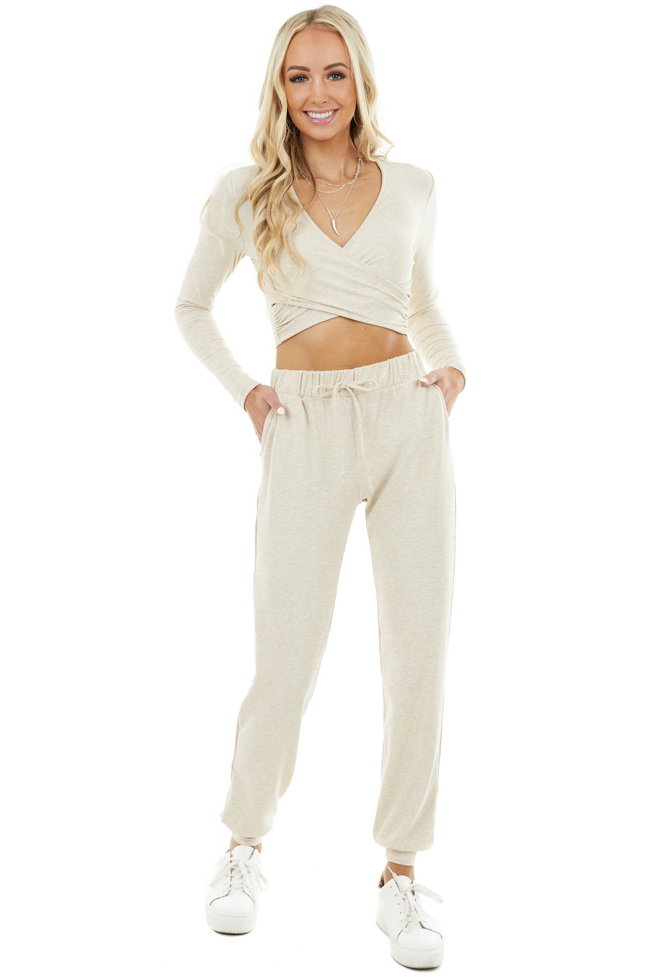 Oatmeal Cross Front Ribbed Knit Crop Top with Long Sleeves