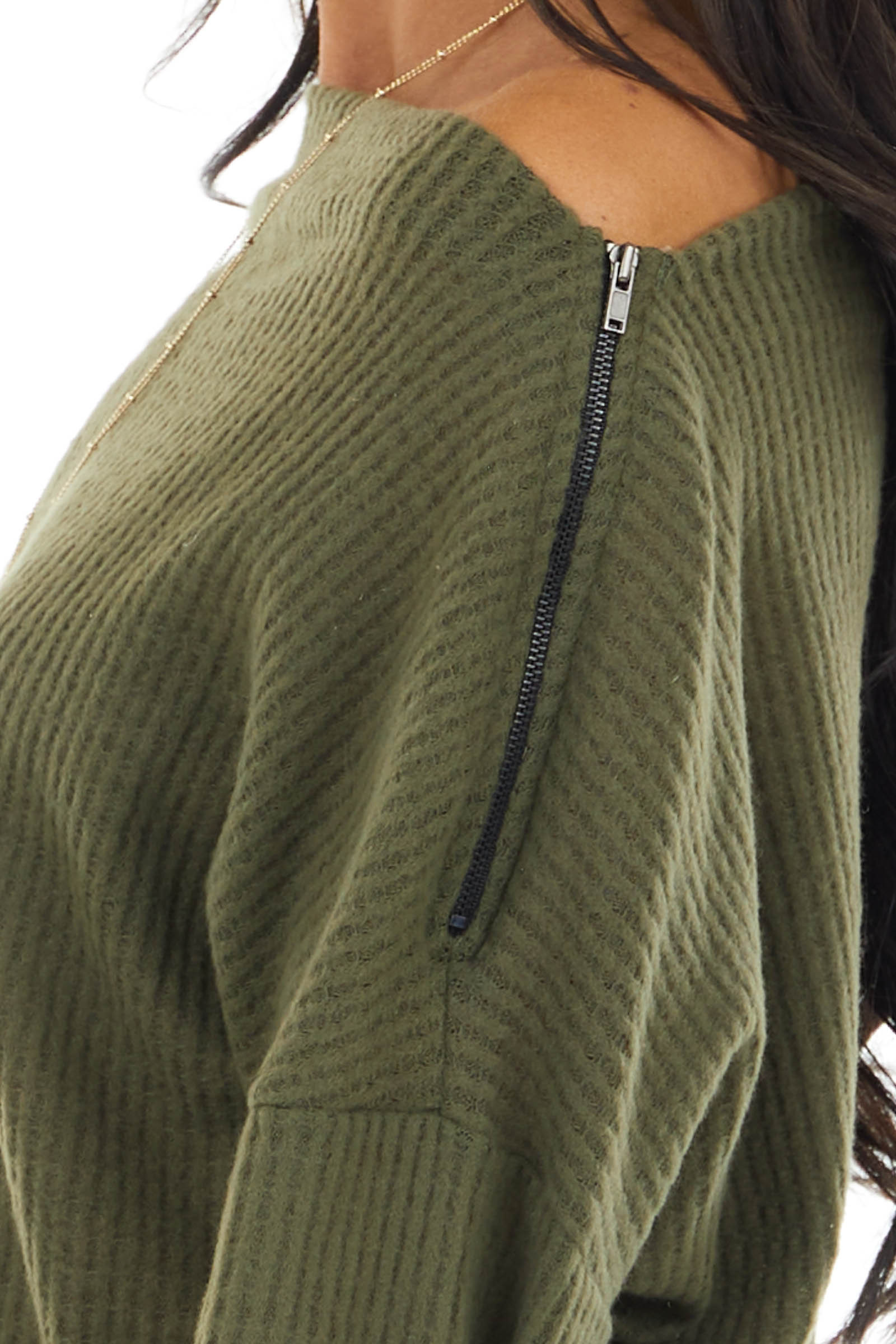 Olive Off Shoulder Waffle Knit Top with Zipper Detail