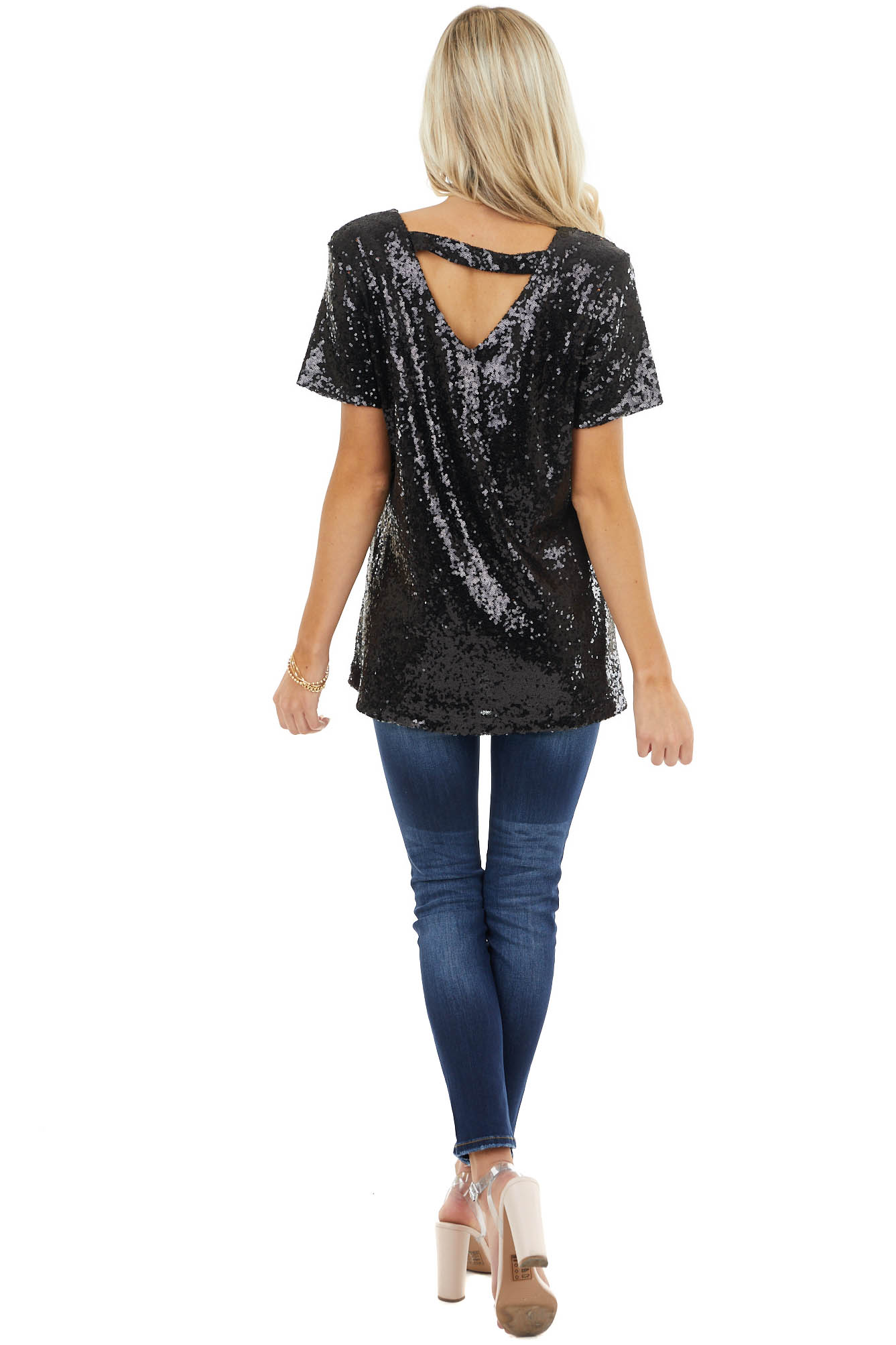 Black Sequined Short Sleeve Top with Back Triangle Cutout
