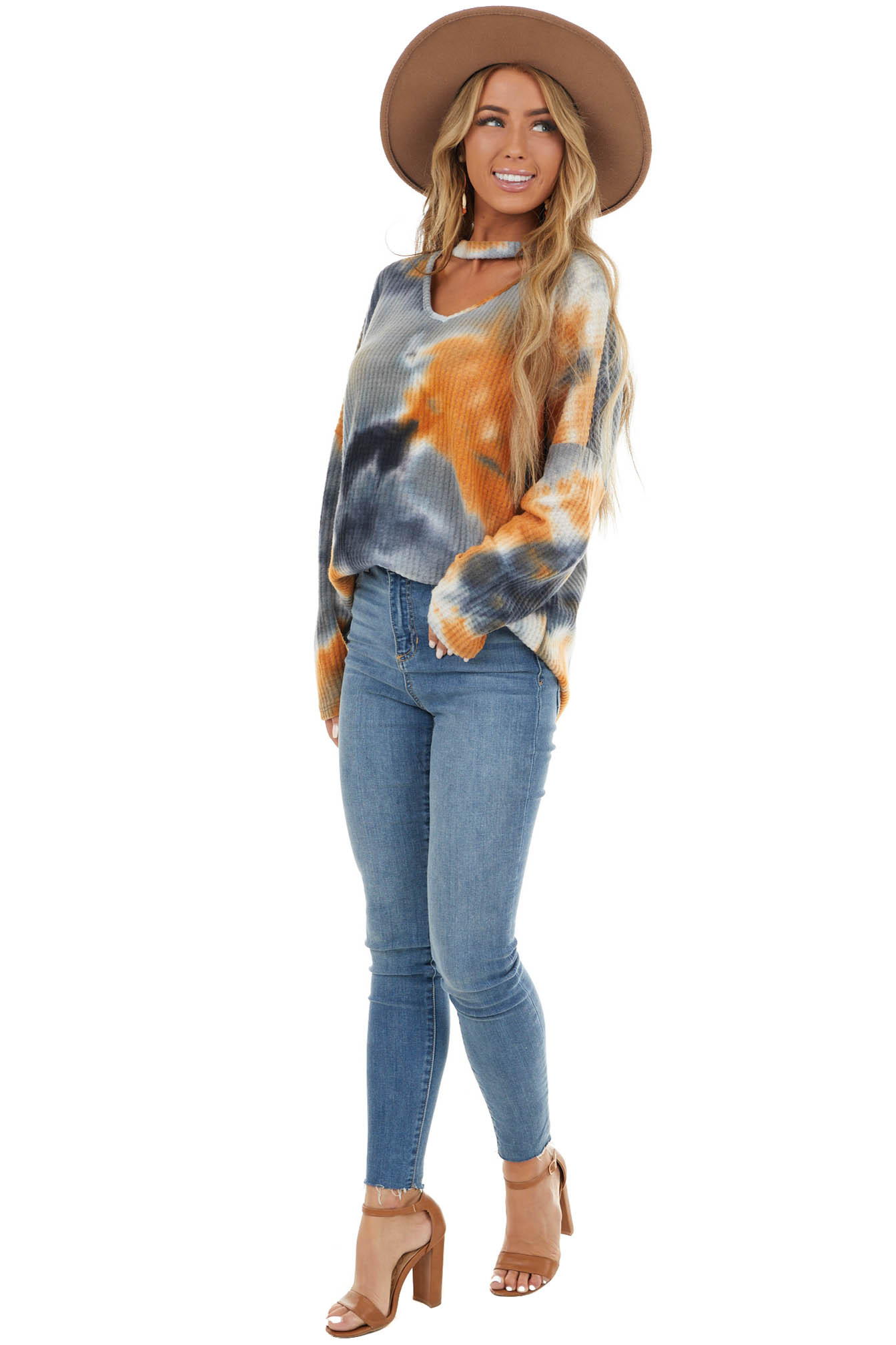 Slate Multicolor Tie Dye Waffle Knit Top with Front Cutout