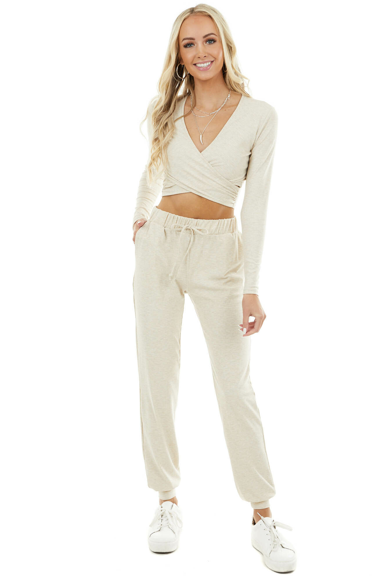 Oatmeal Ribbed Knit Lightweight Joggers with Elastic Waist