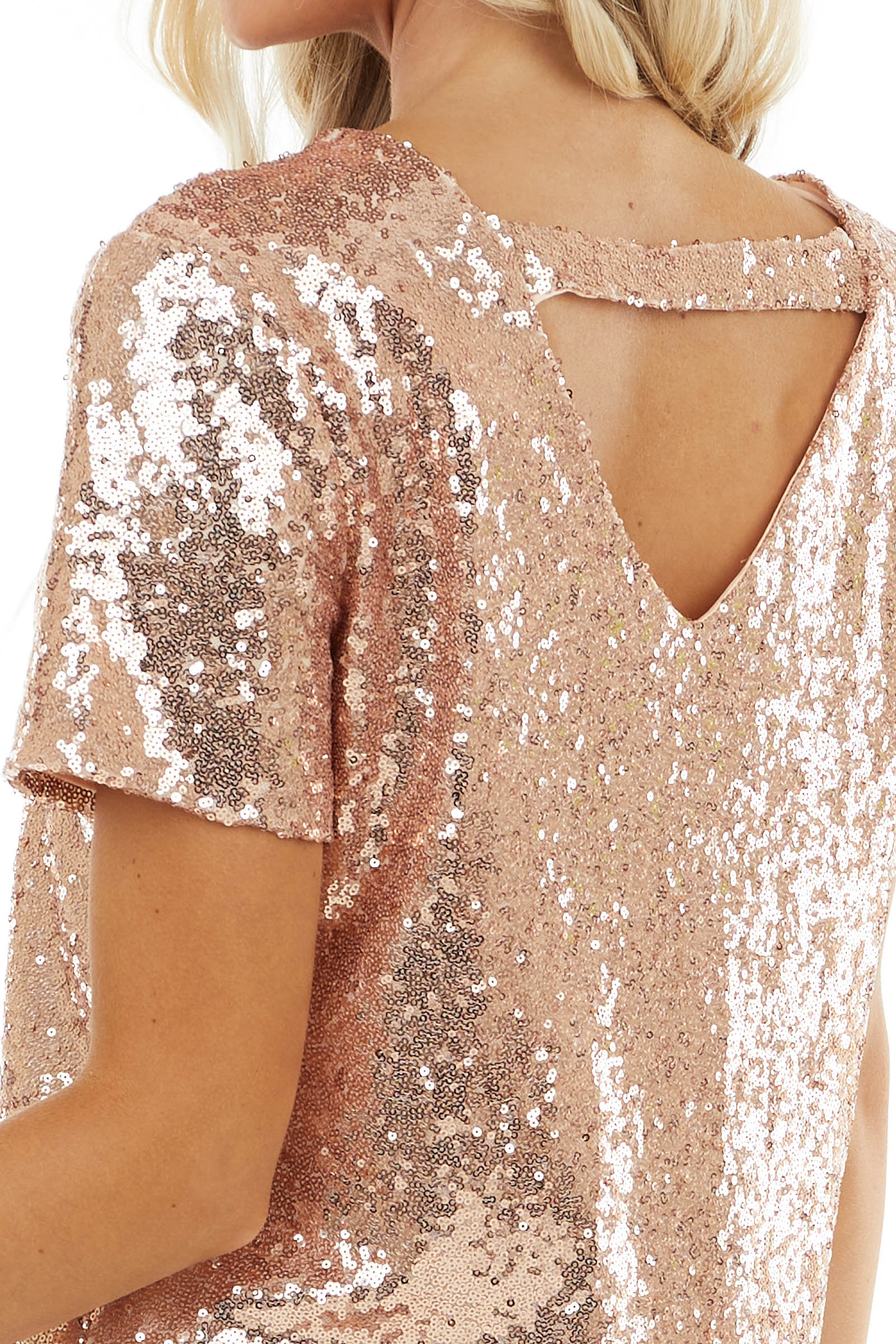 Blush Sequined Short Sleeve Top with Back Triangle Cutout