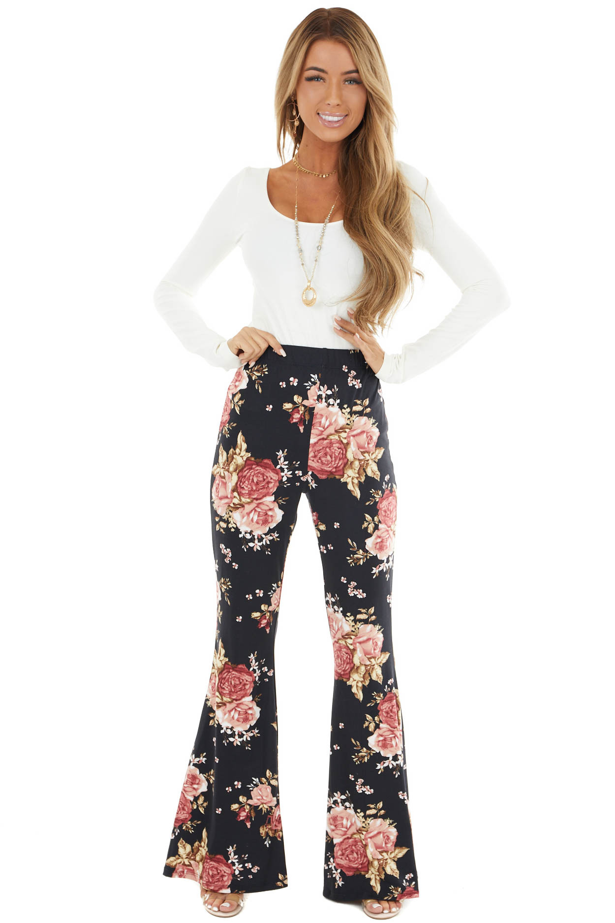 Black Floral Print Stretchy Knit Bell Bottom Pants