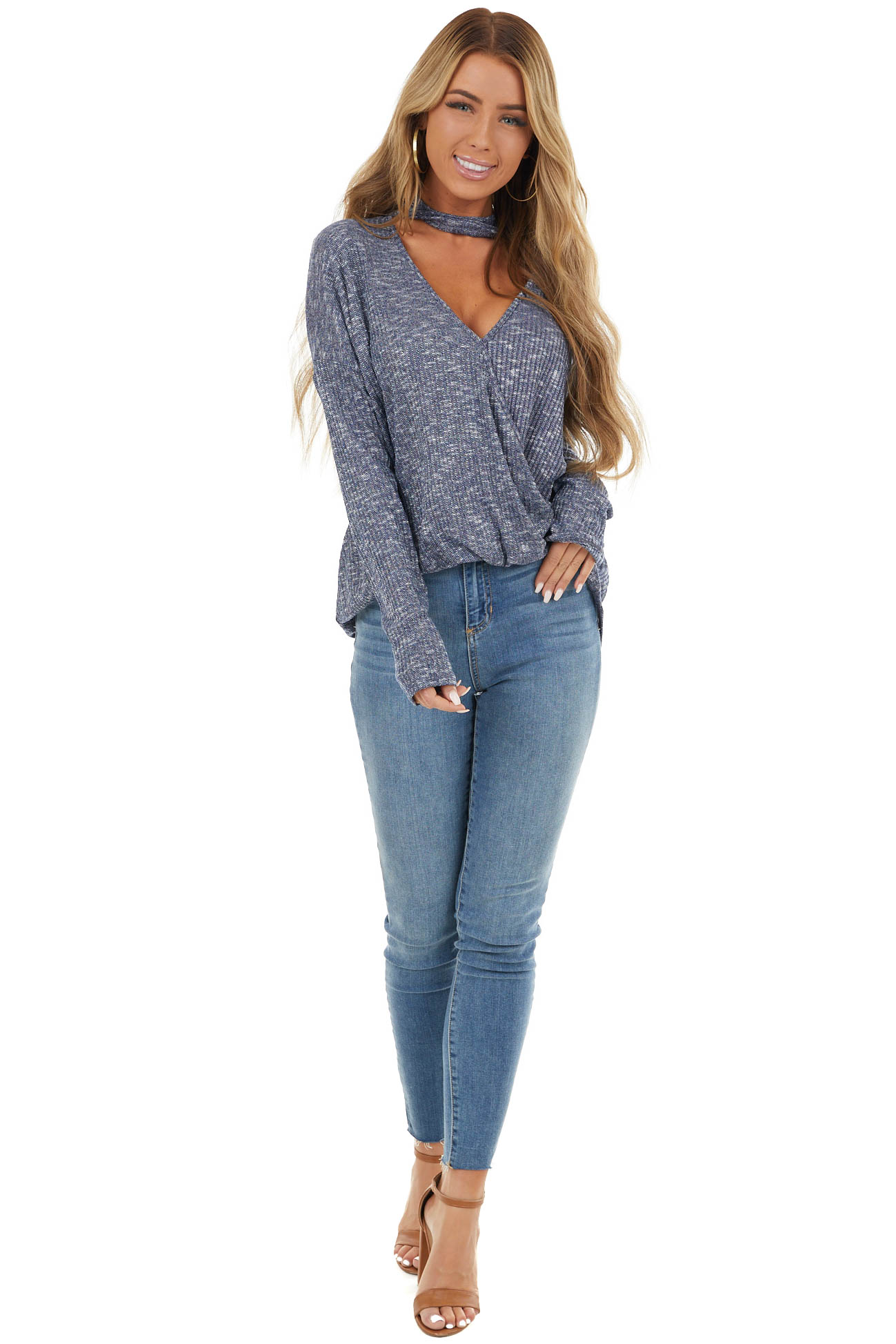 Navy Blue and White Surplice Knit Top with Choker Neckline