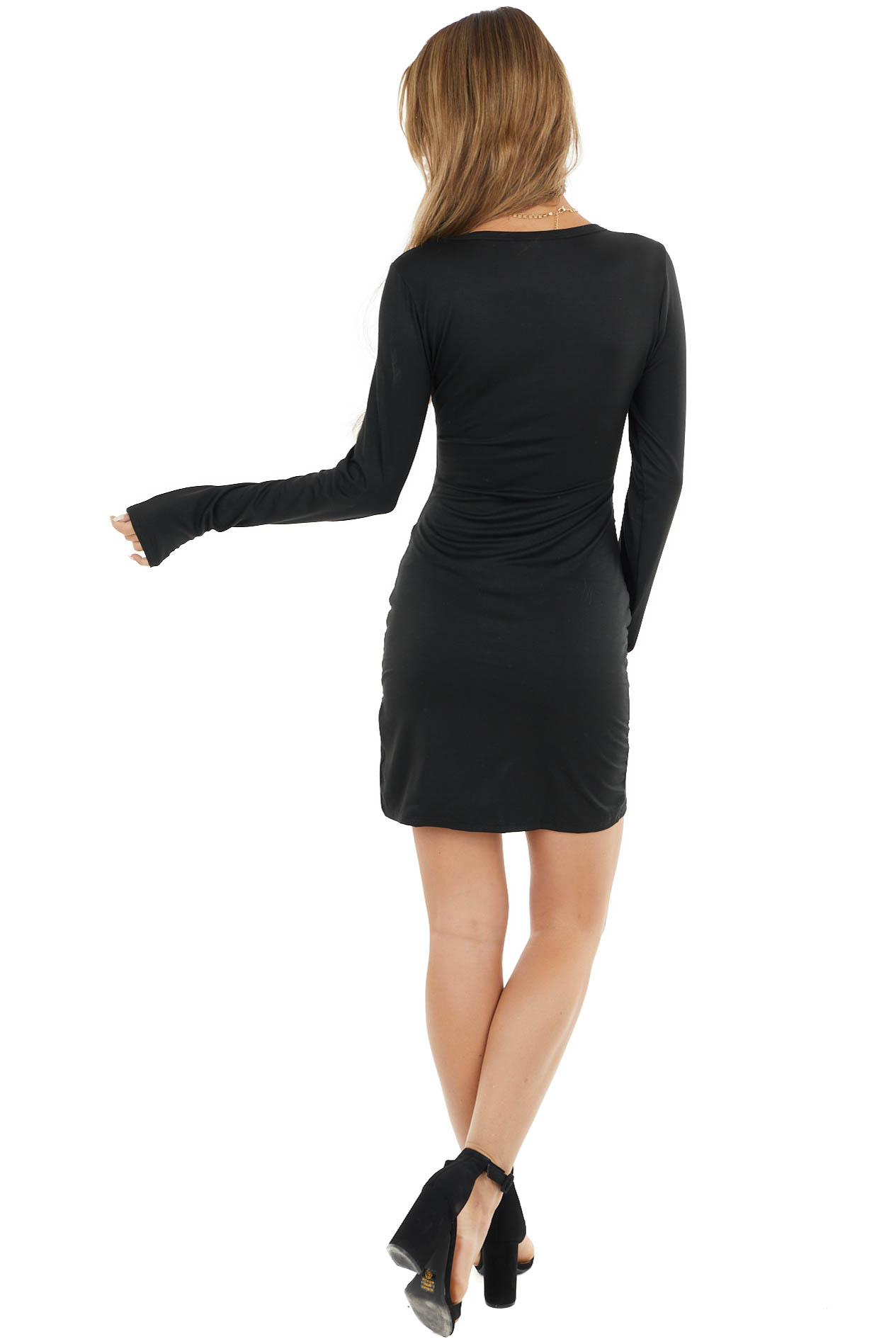 Black Long Sleeve Bodycon Short Dress with Side Ruching