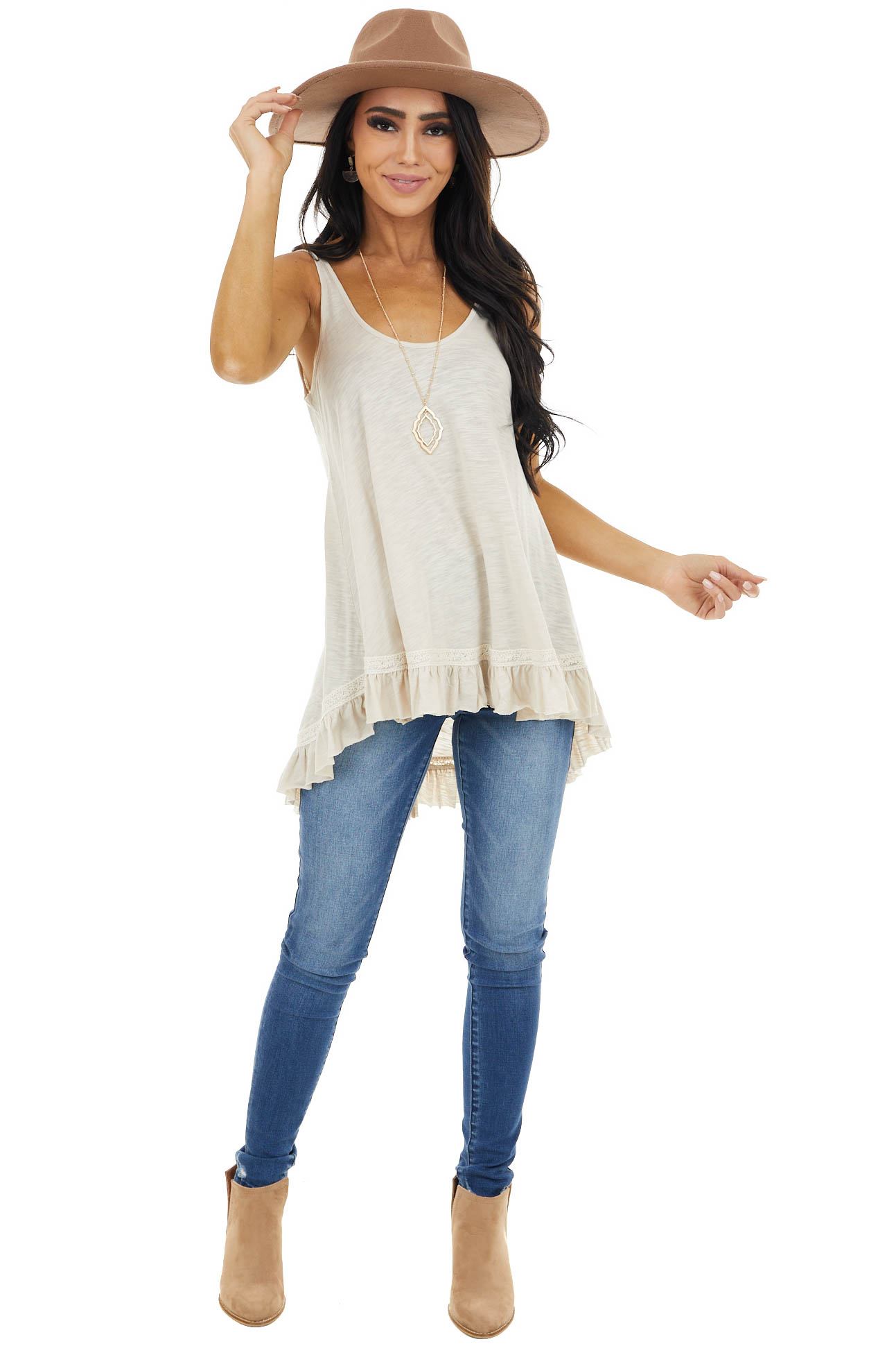 Heathered Oatmeal Knit Tank Top with Ruffle Details