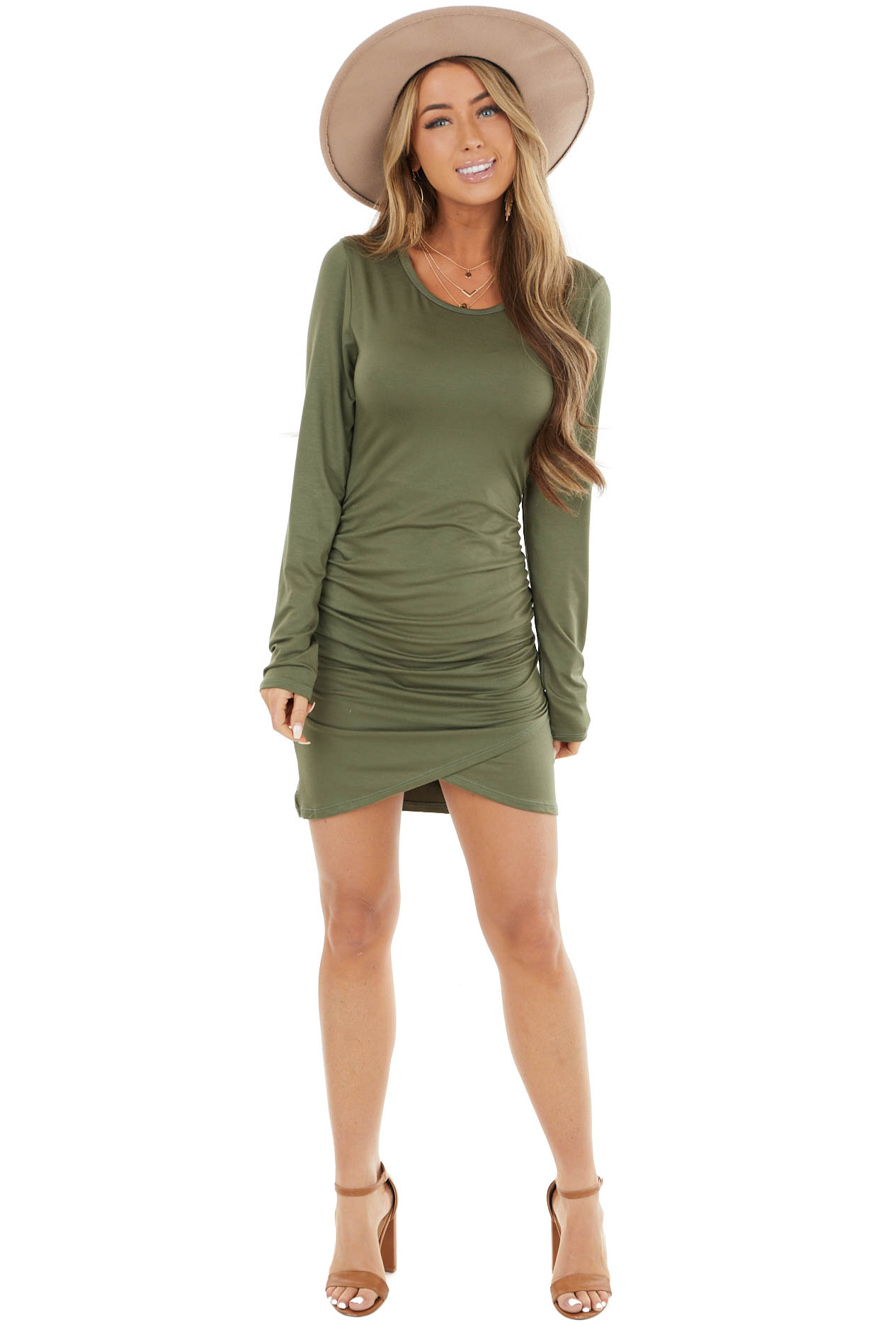 Olive Long Sleeve Bodycon Short Dress with Side Ruching