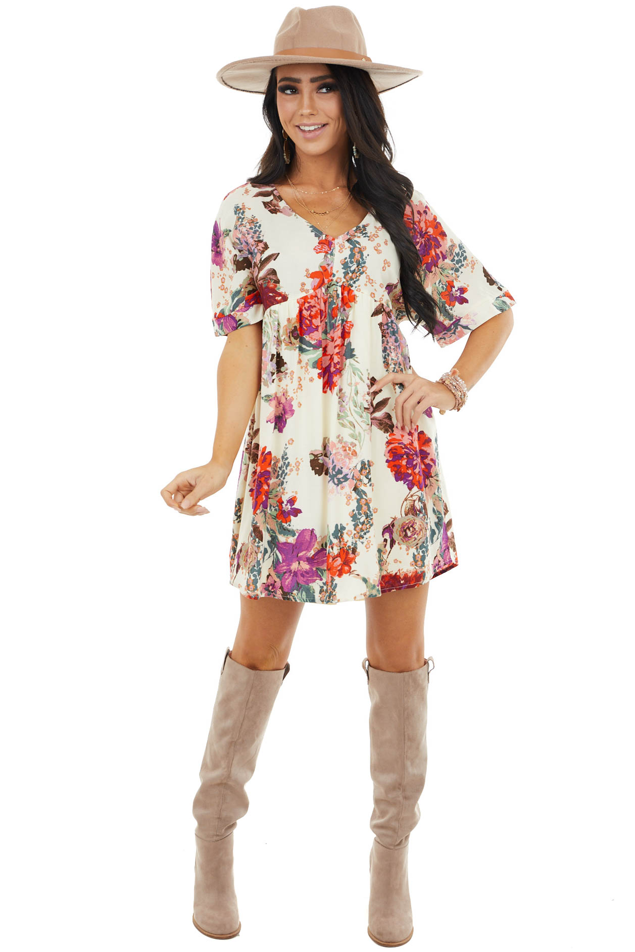 Cream Multi Color Floral Print Baby Doll Flowy Mini Dress