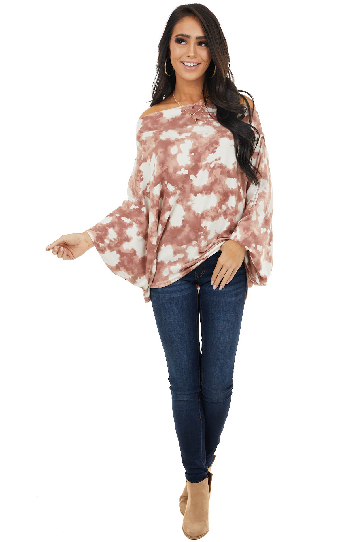 Mauve Tie Dye Off the Shoulder Top with Dolman Sleeves