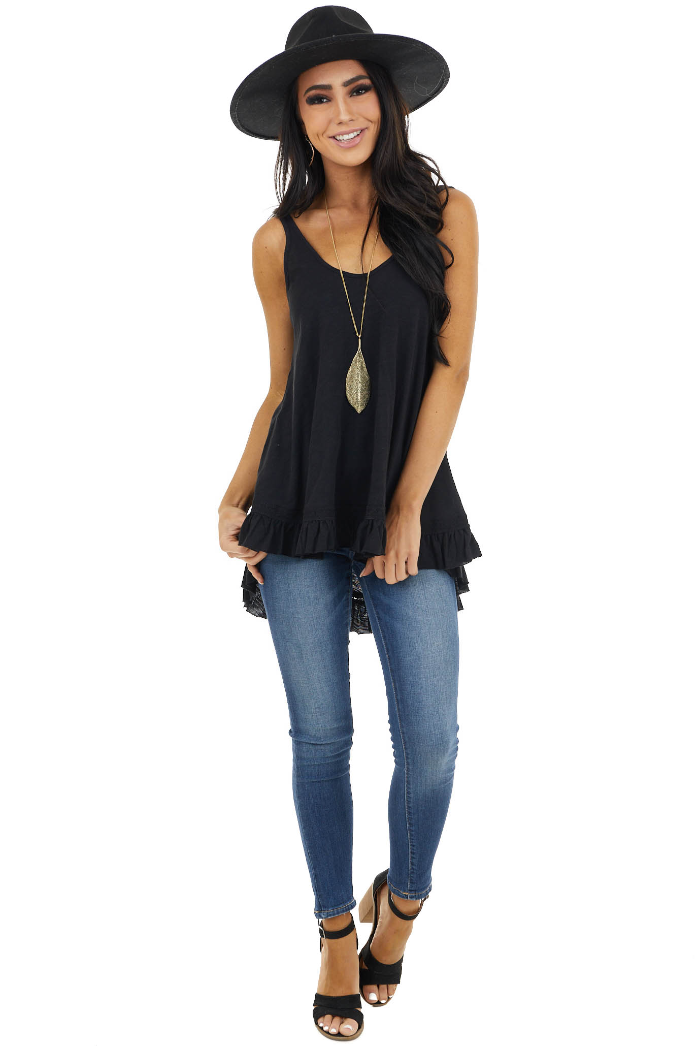 Heathered Black Knit Tank Top with Ruffle and Lace Details