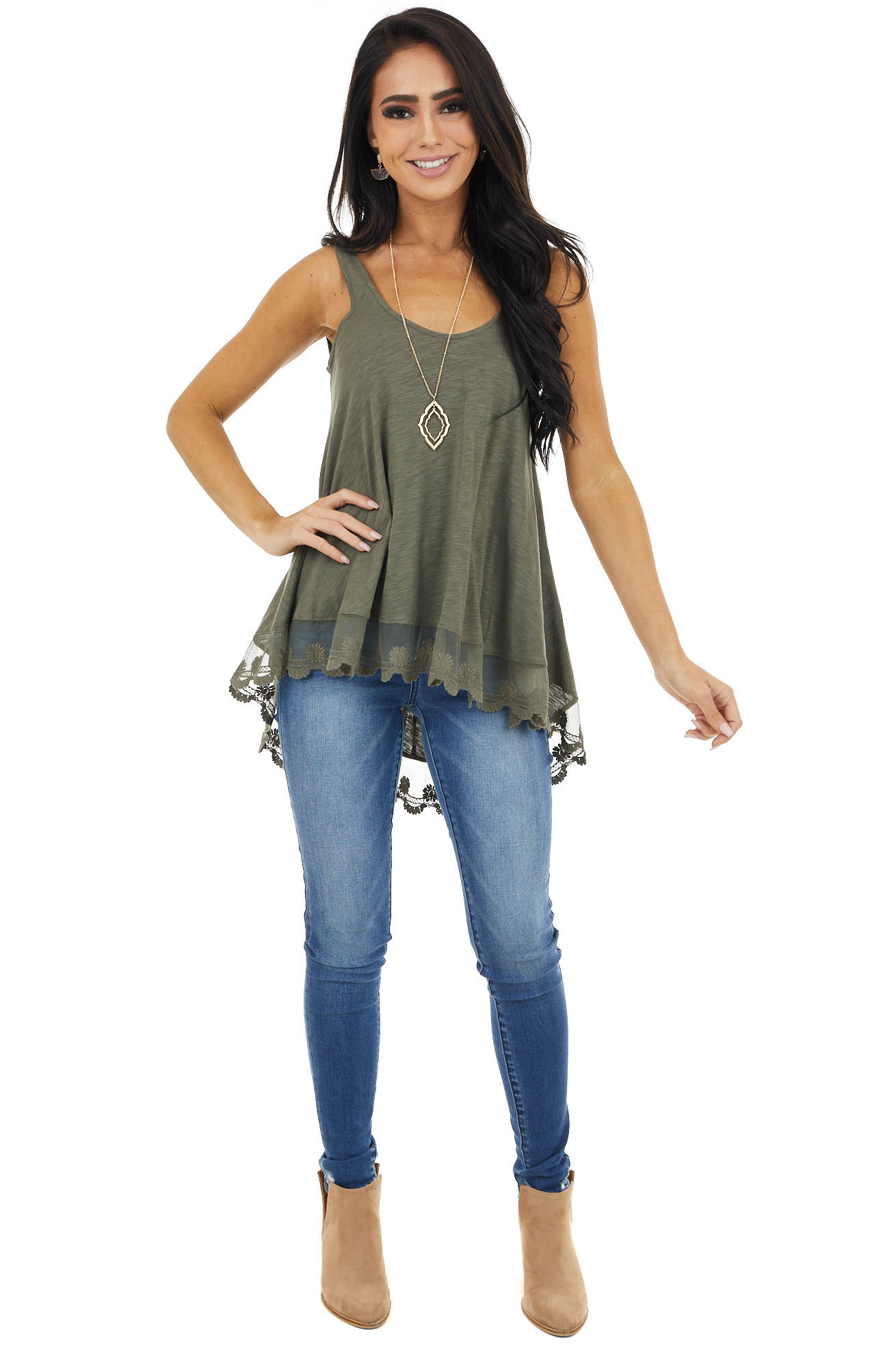 Olive Knit Tank Top with Scalloped Lace Hemline