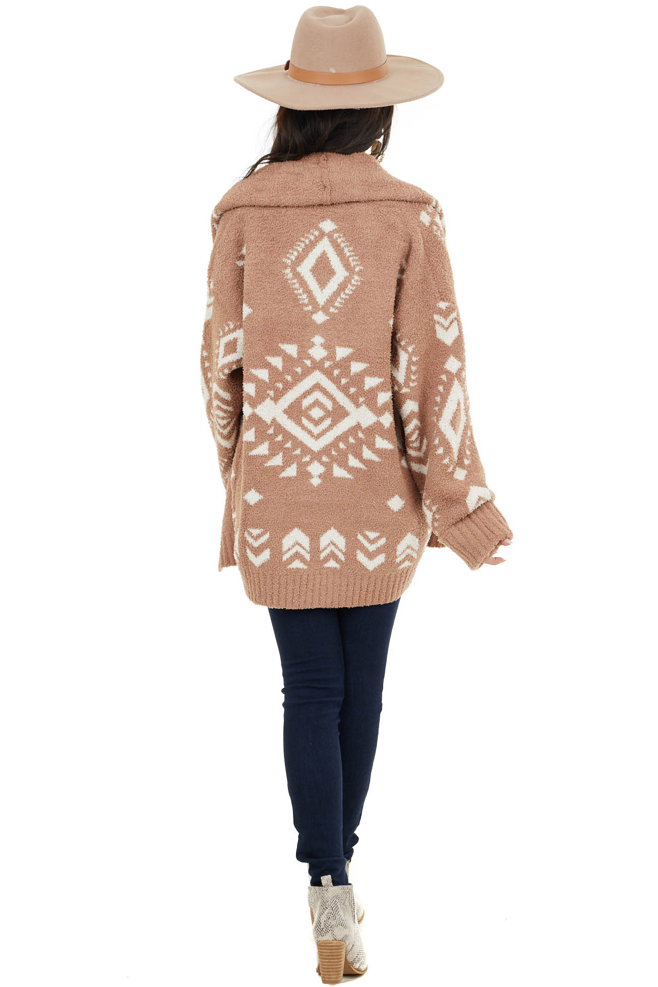Camel Aztec Print Soft Knit Cocoon Cardigan with Collar