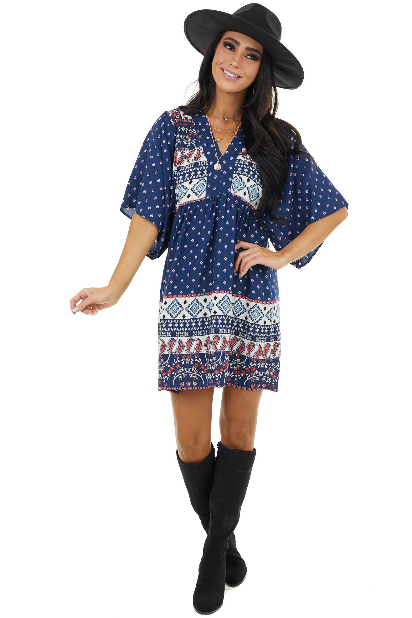 Navy Paisley and Abstract Mini Dress with Short Sleeves