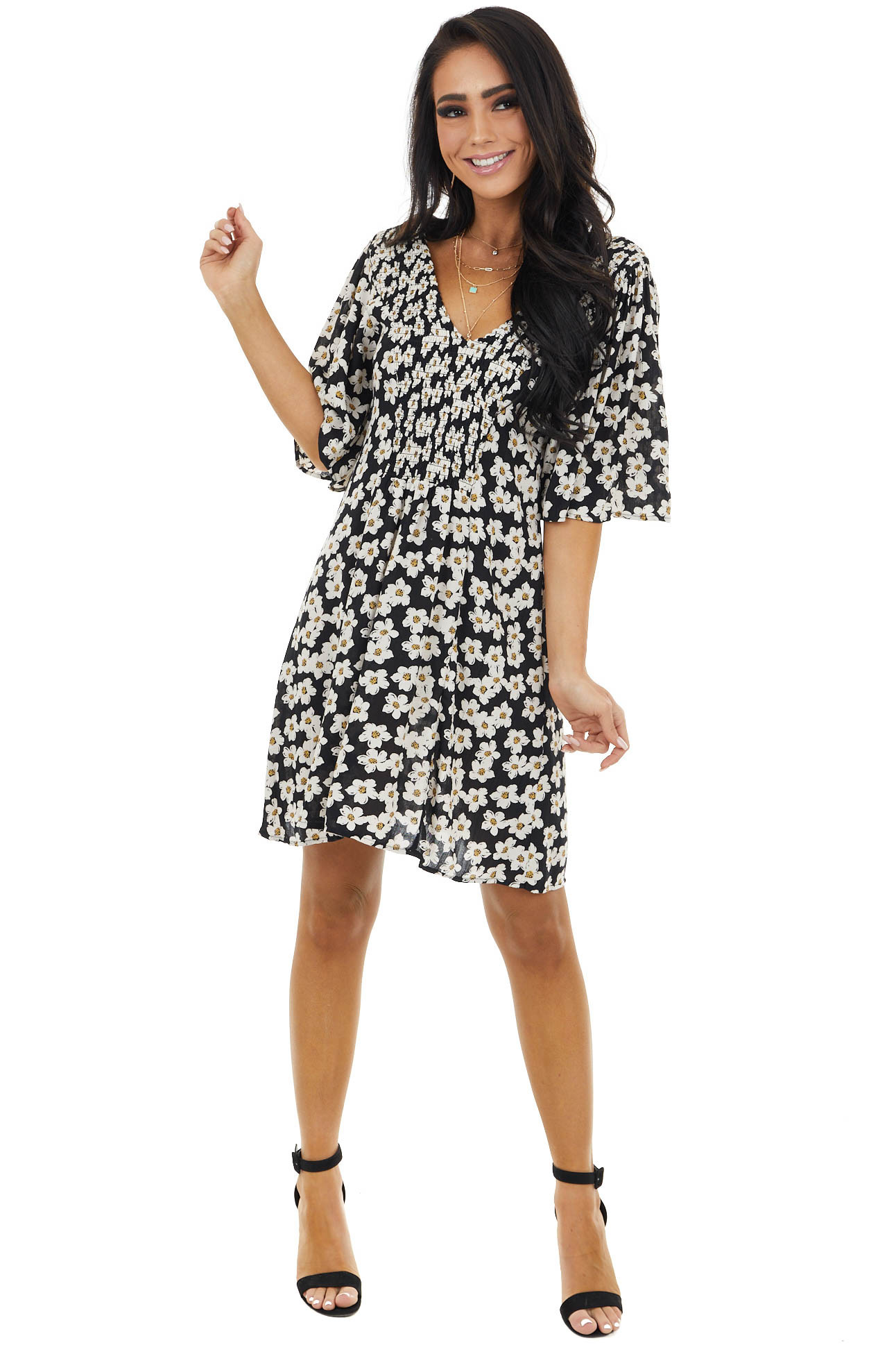 Black Floral Print Smocked Mini Dress with V Neckline