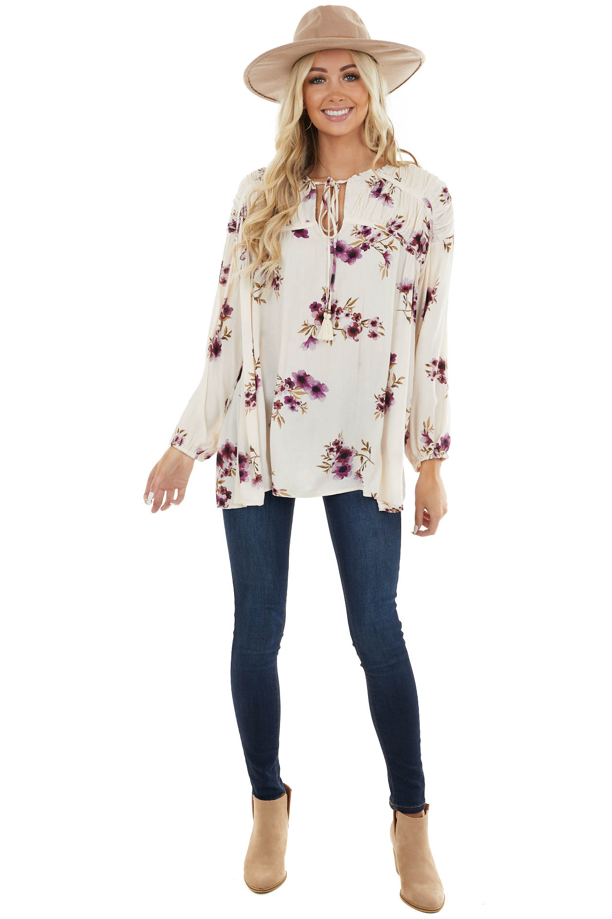 Ivory and Plum Floral Print Blouse with Tie Detail
