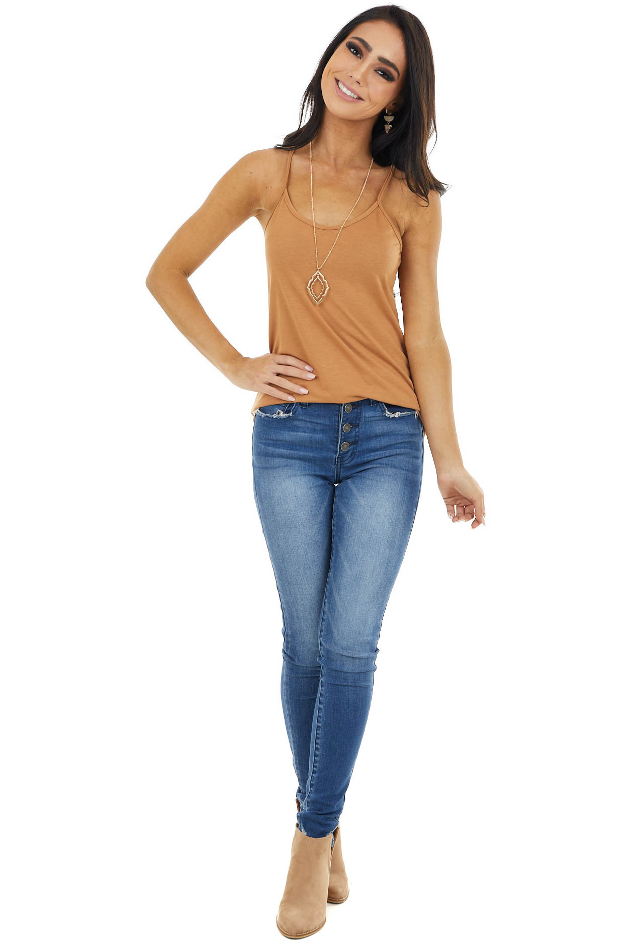 Camel Racerback Cami with Rounded Hemline and Neckline