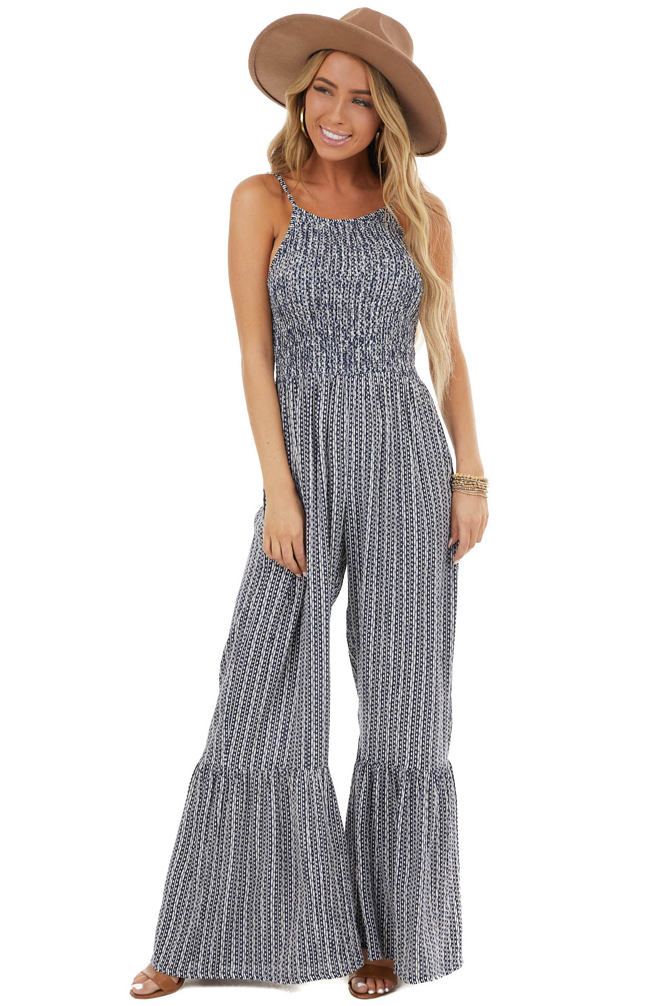 Navy Abstract Pattern Flare Leg Jumpsuit with Smocked Bodice