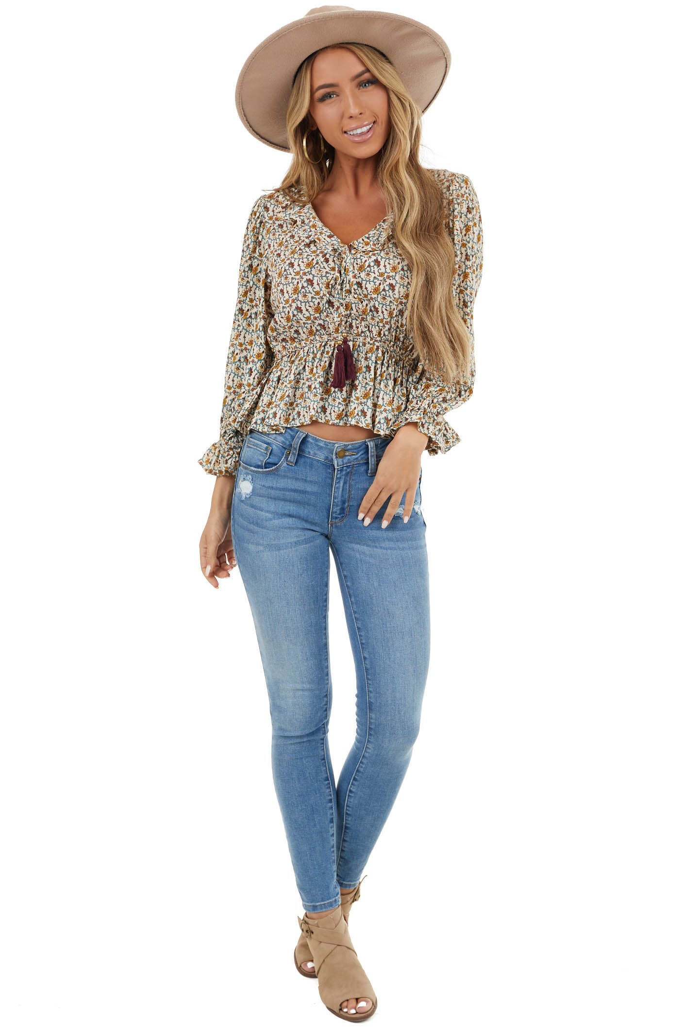 Ivory Floral Print Lace Up Tassel Blouse with Ruffle Details