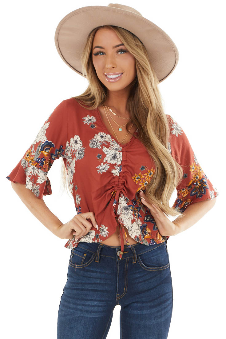 Rust Floral Short Sleeve Top with Front Cinch and Tie Detail