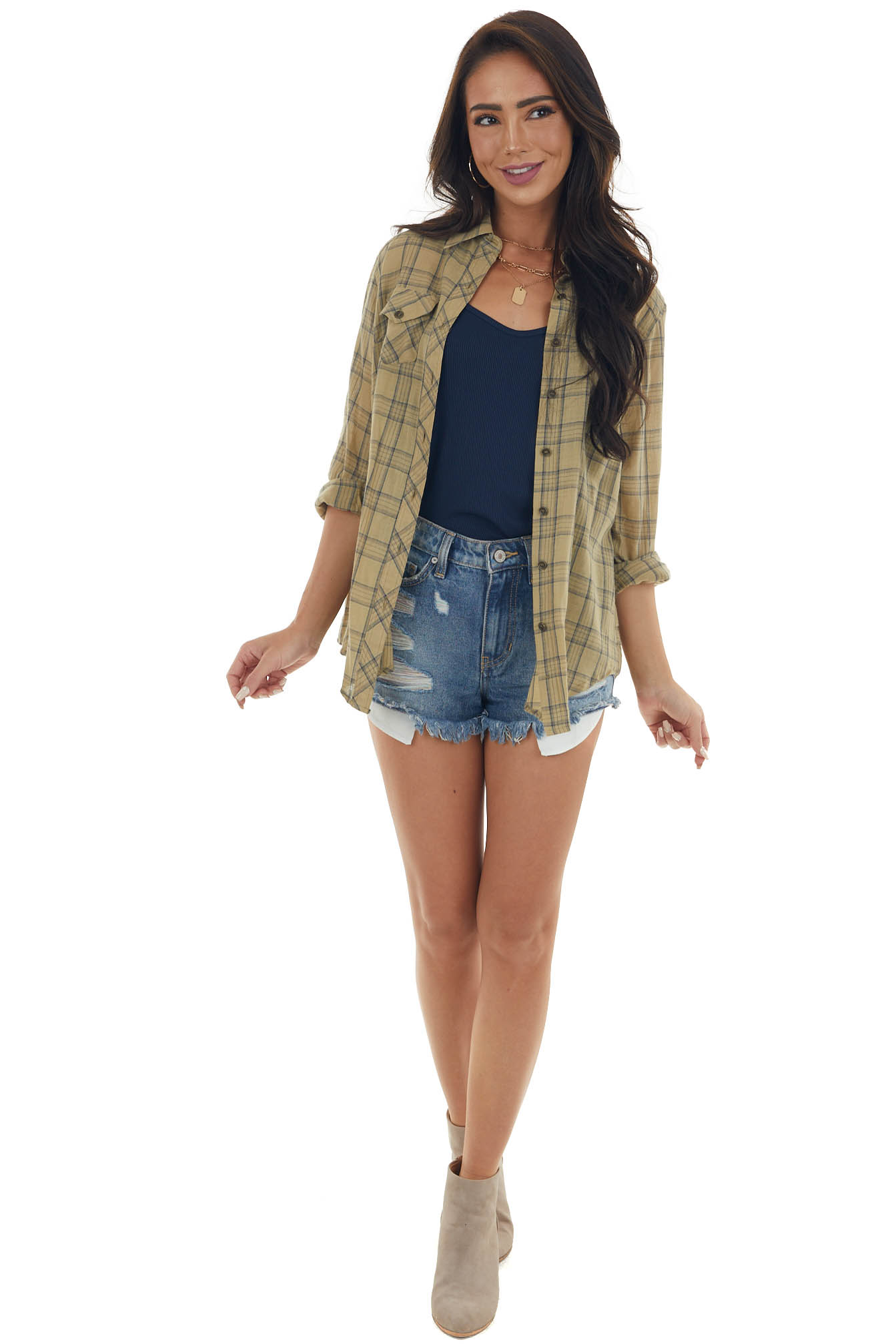 Straw Plaid Button Up Collared Woven Top with Chest Pockets