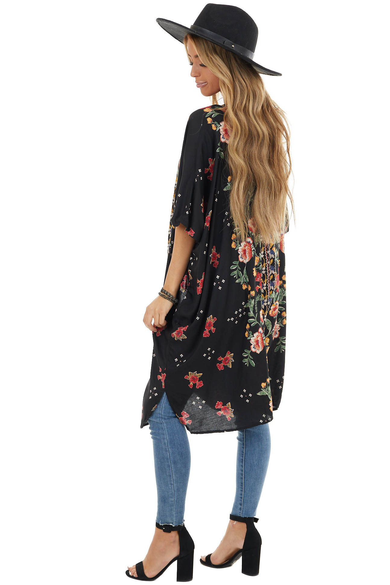 Black Loose Floral Print Kimono with Short Sleeves