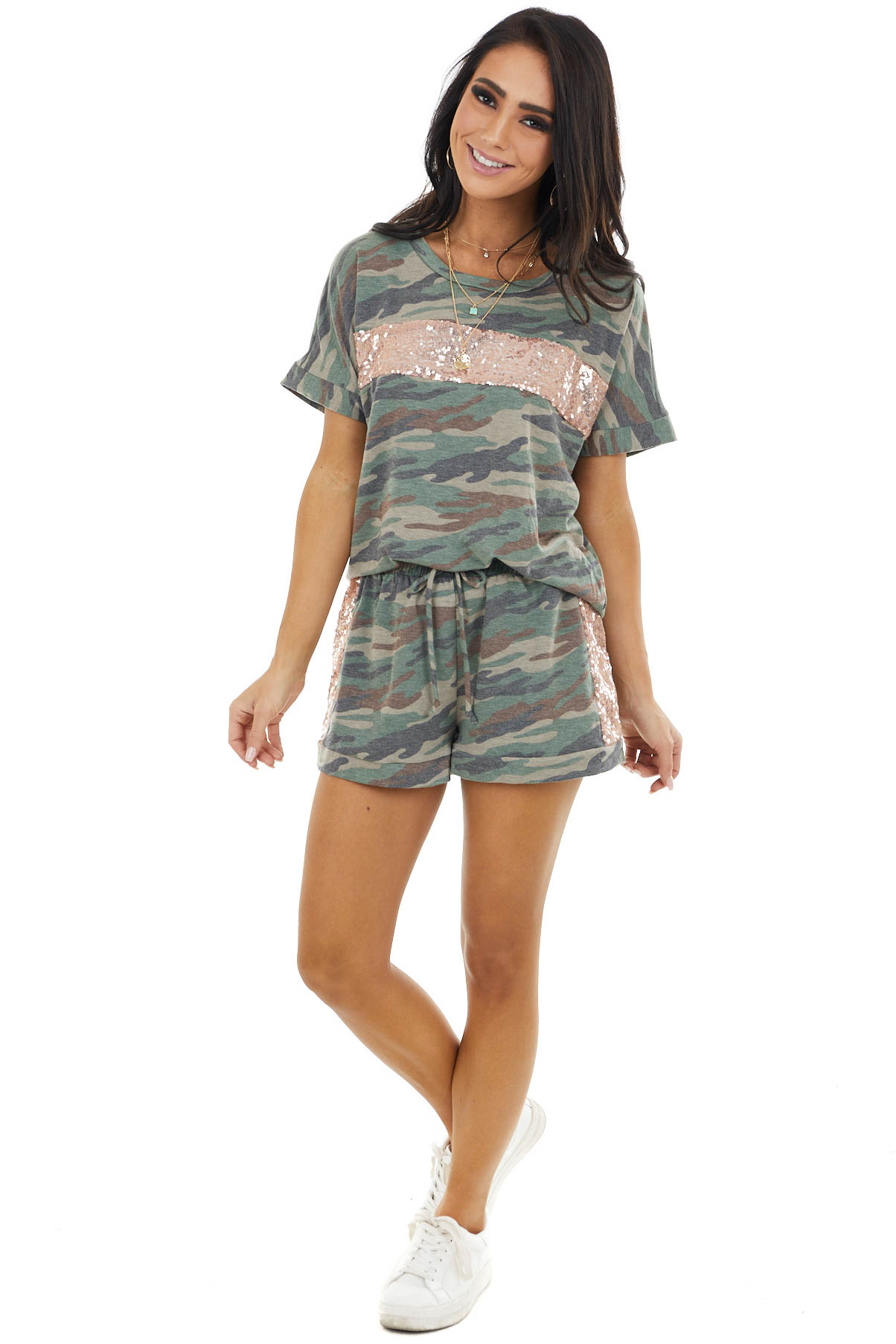 Jungle Green Camo Sequin Short Sleeve and Shorts Lounge Set