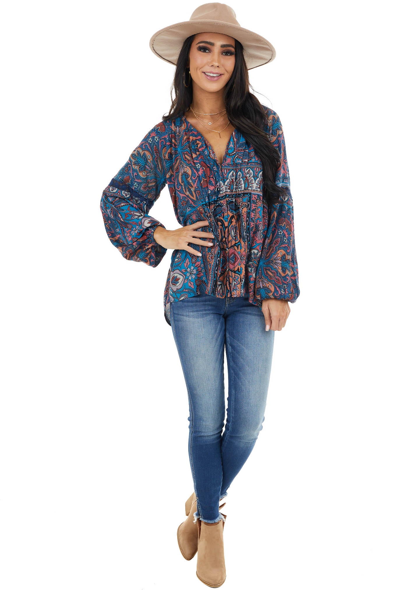 Ocean Blue Floral Button Up Top with Long Bubble Sleeves