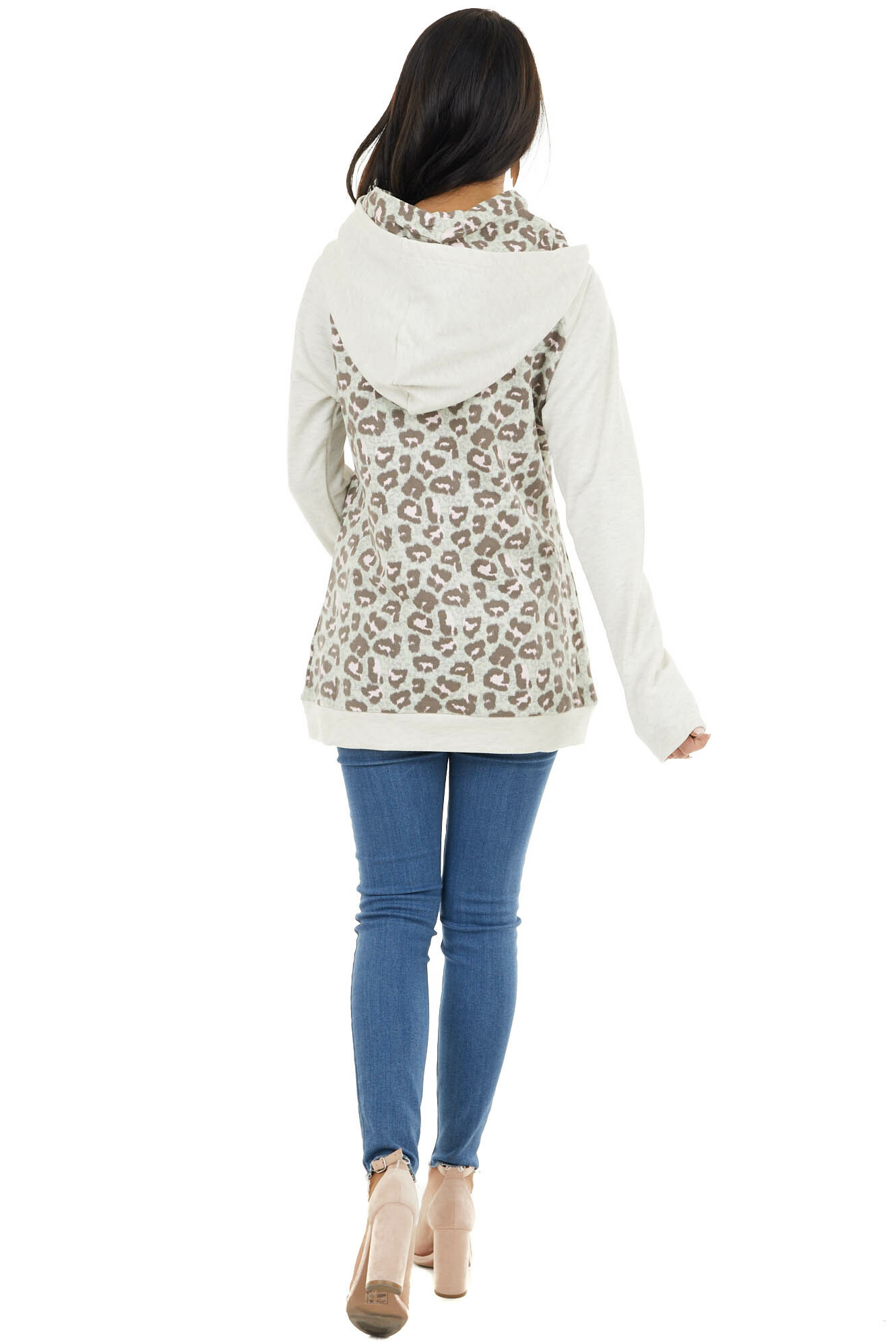 Oatmeal and Leopard Print Long Sleeve Hoodie with Pockets