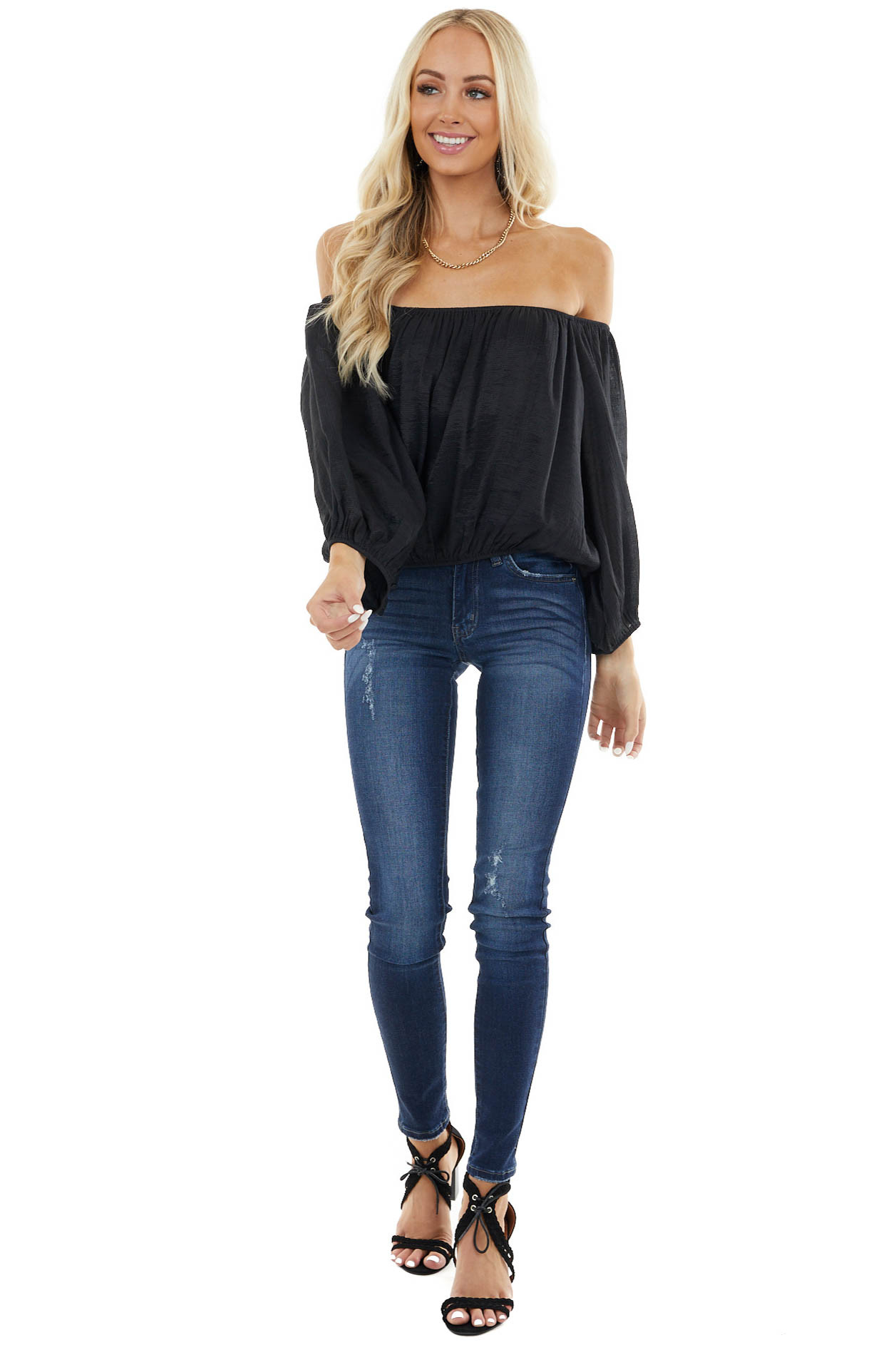 Black Boat Neck Crop Top with Long Bubble Sleeves