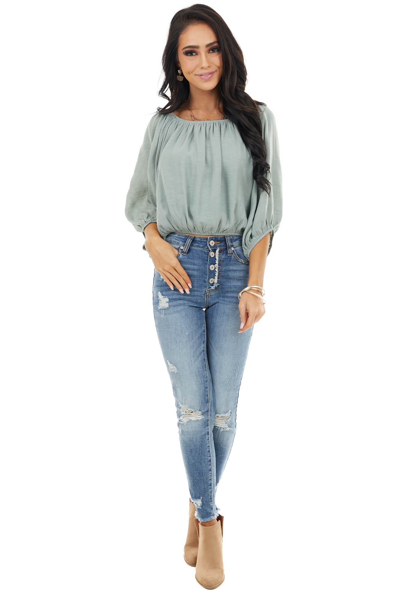 Sage Boat Neck Crop Top with Long Bubble Sleeves